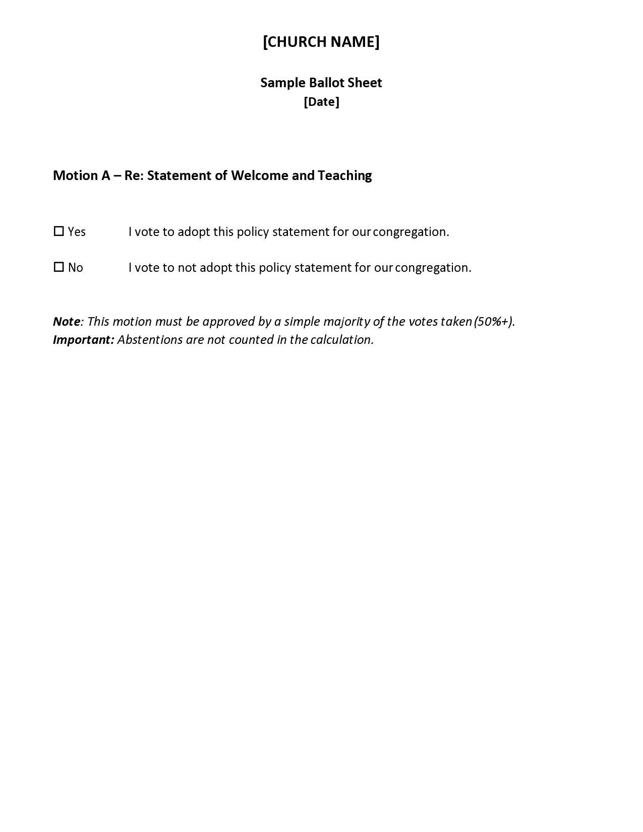 Free ballot template 19