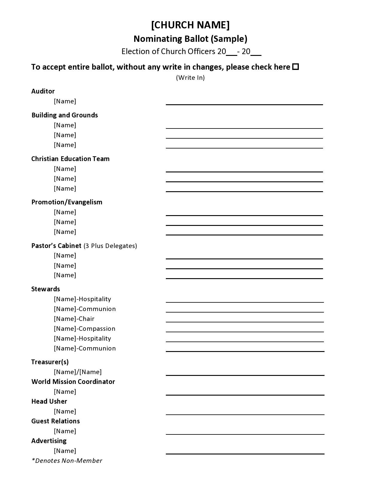 Free ballot template 20