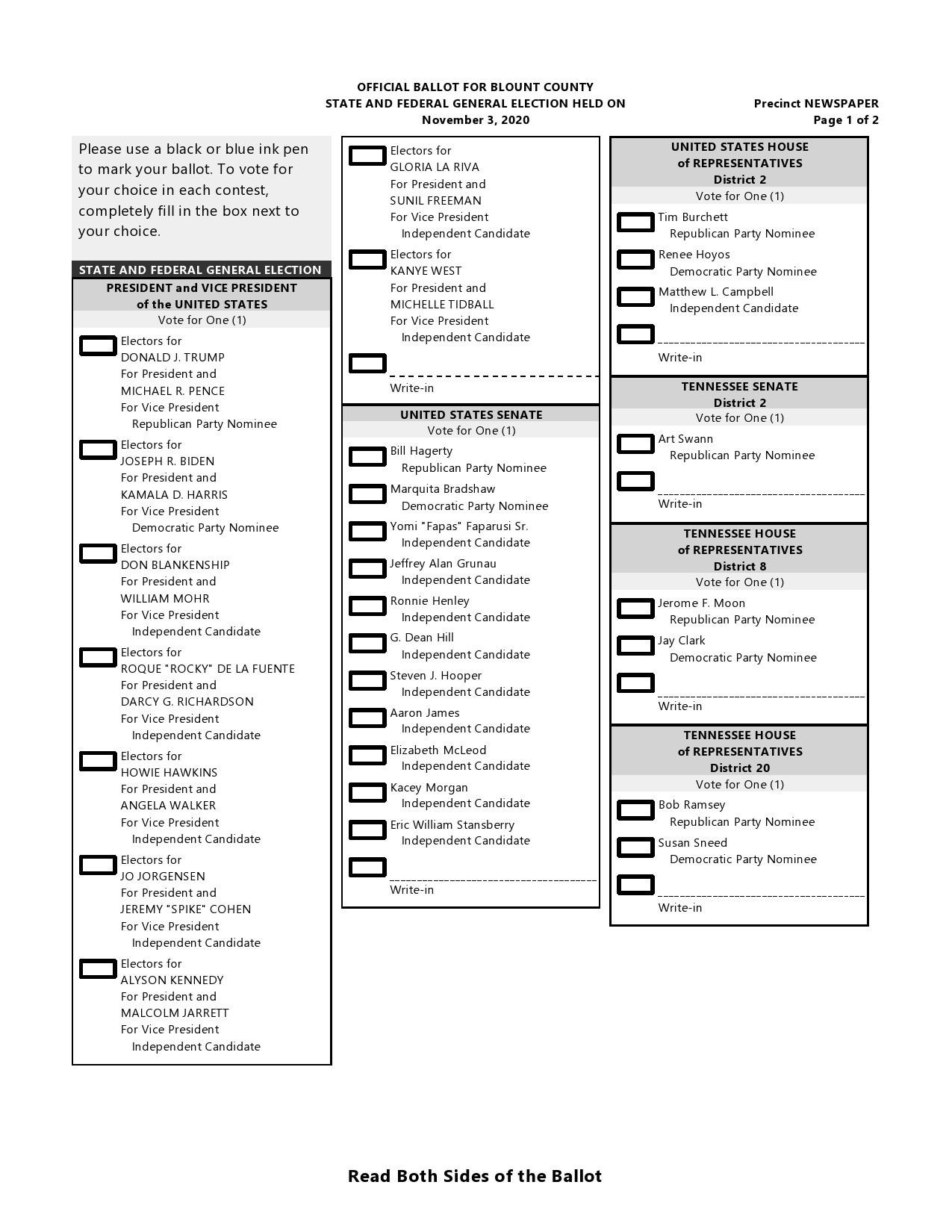 Free ballot template 28