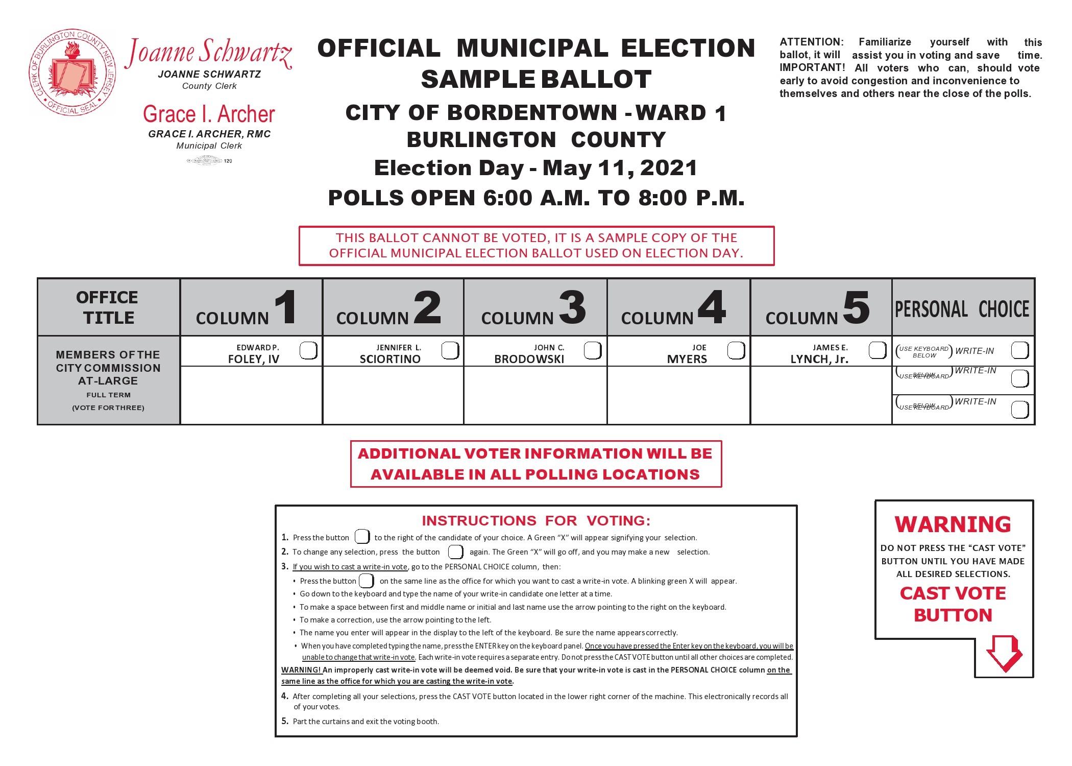 Free ballot template 39