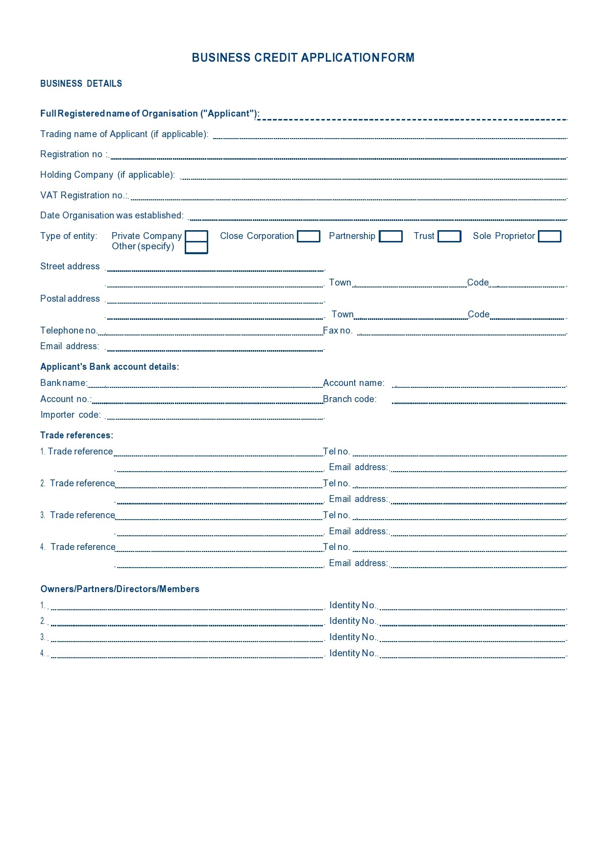 Free business credit application 01