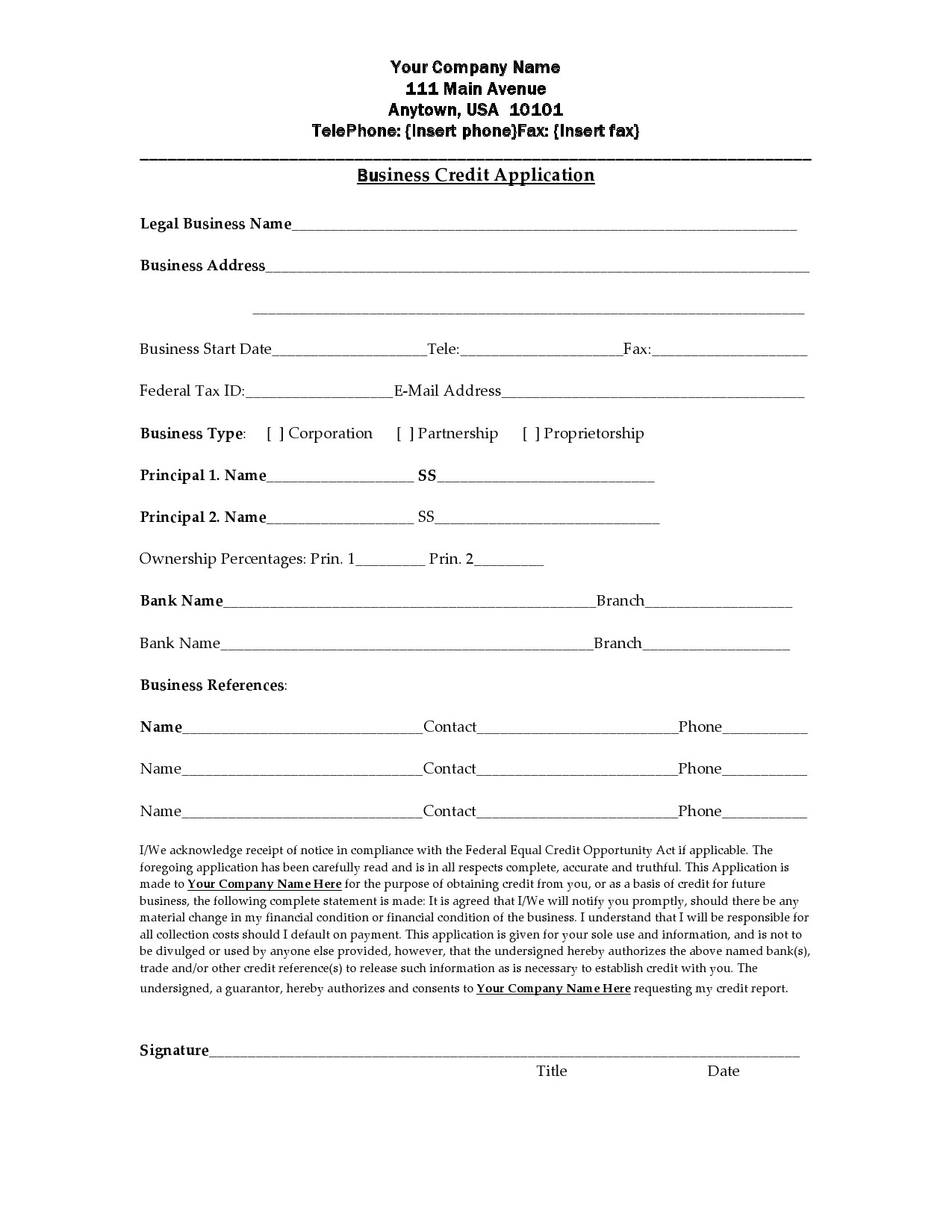 Free business credit application 08