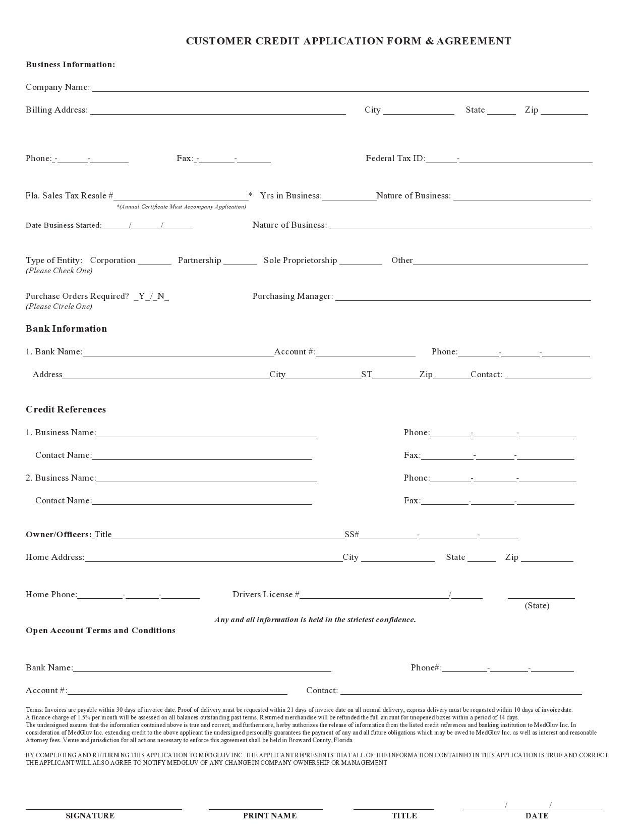Free business credit application 09