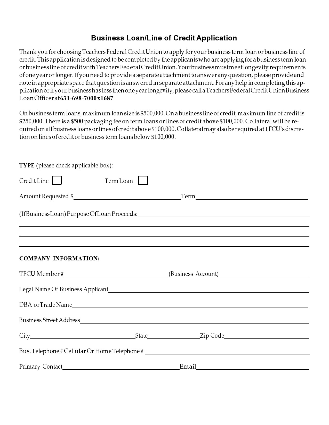 Free business credit application 10