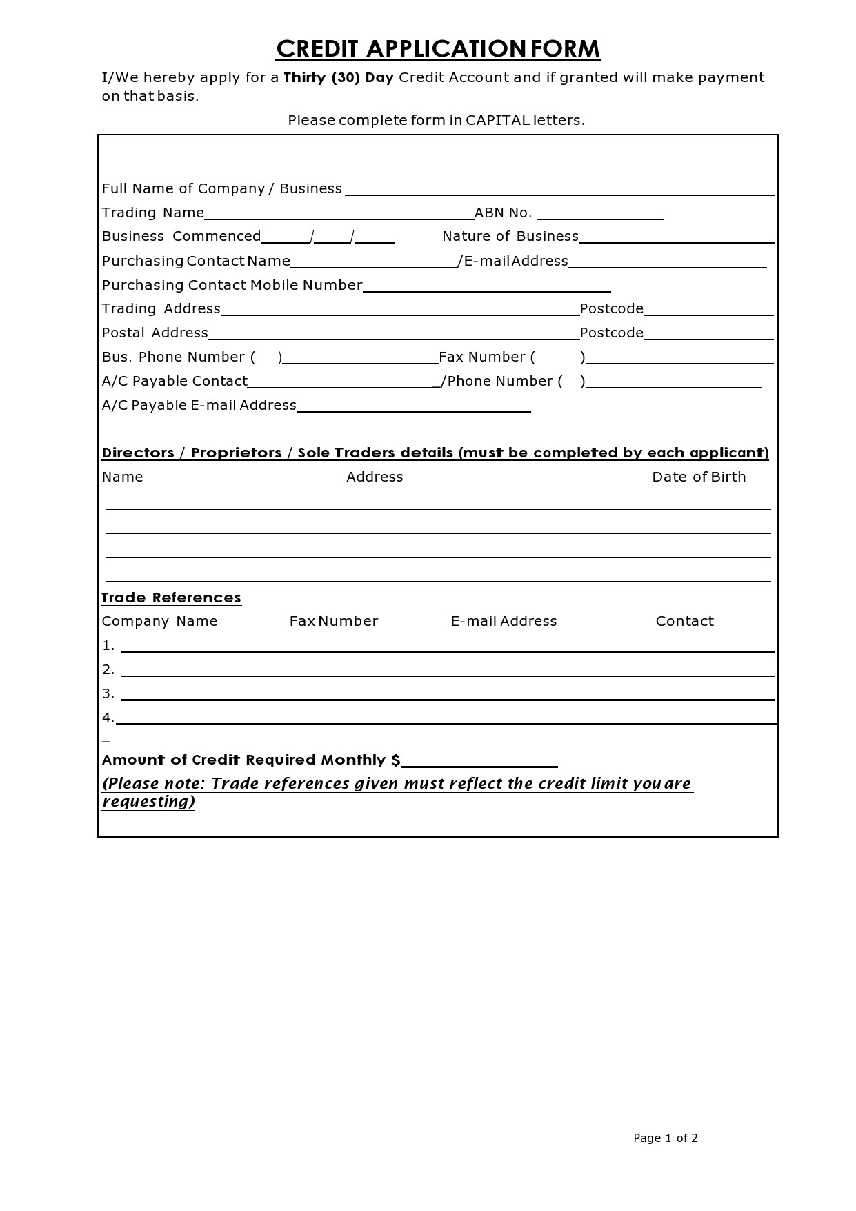 Free business credit application 25