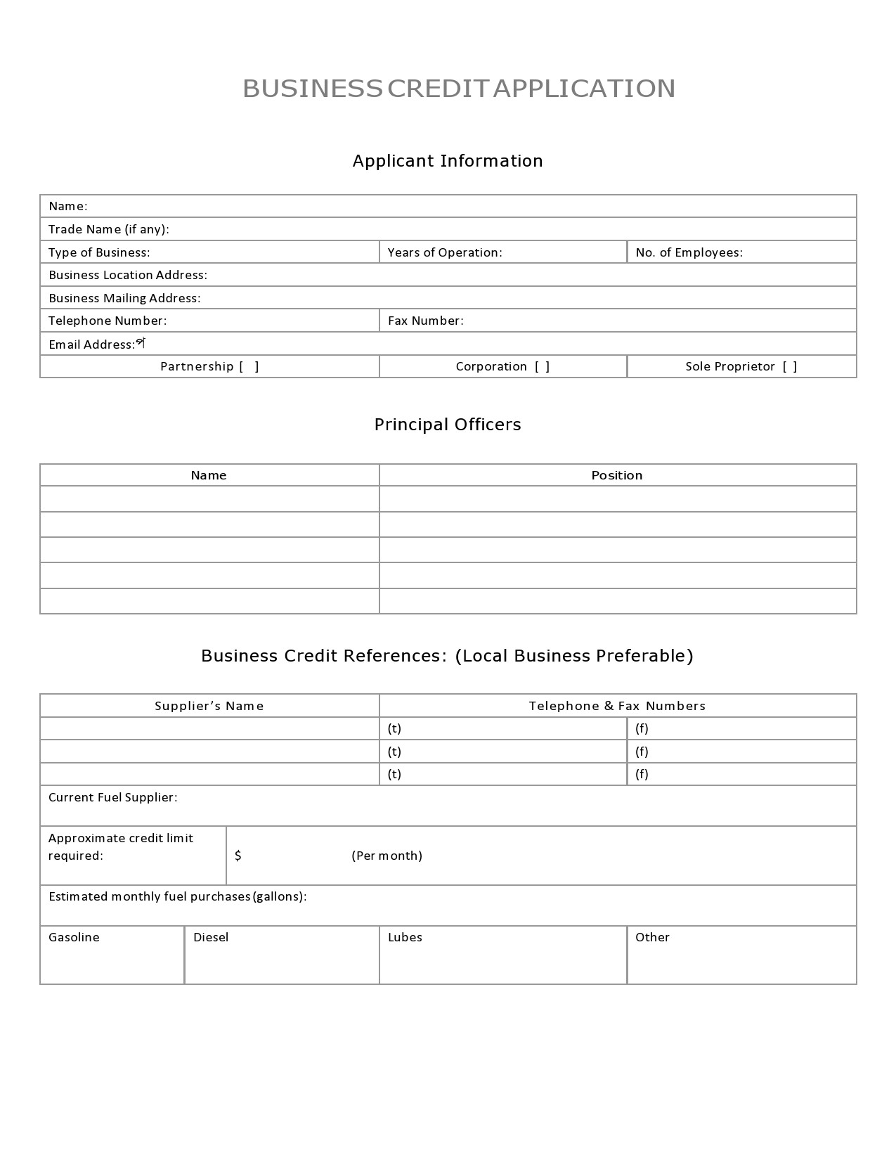 Free business credit application 33