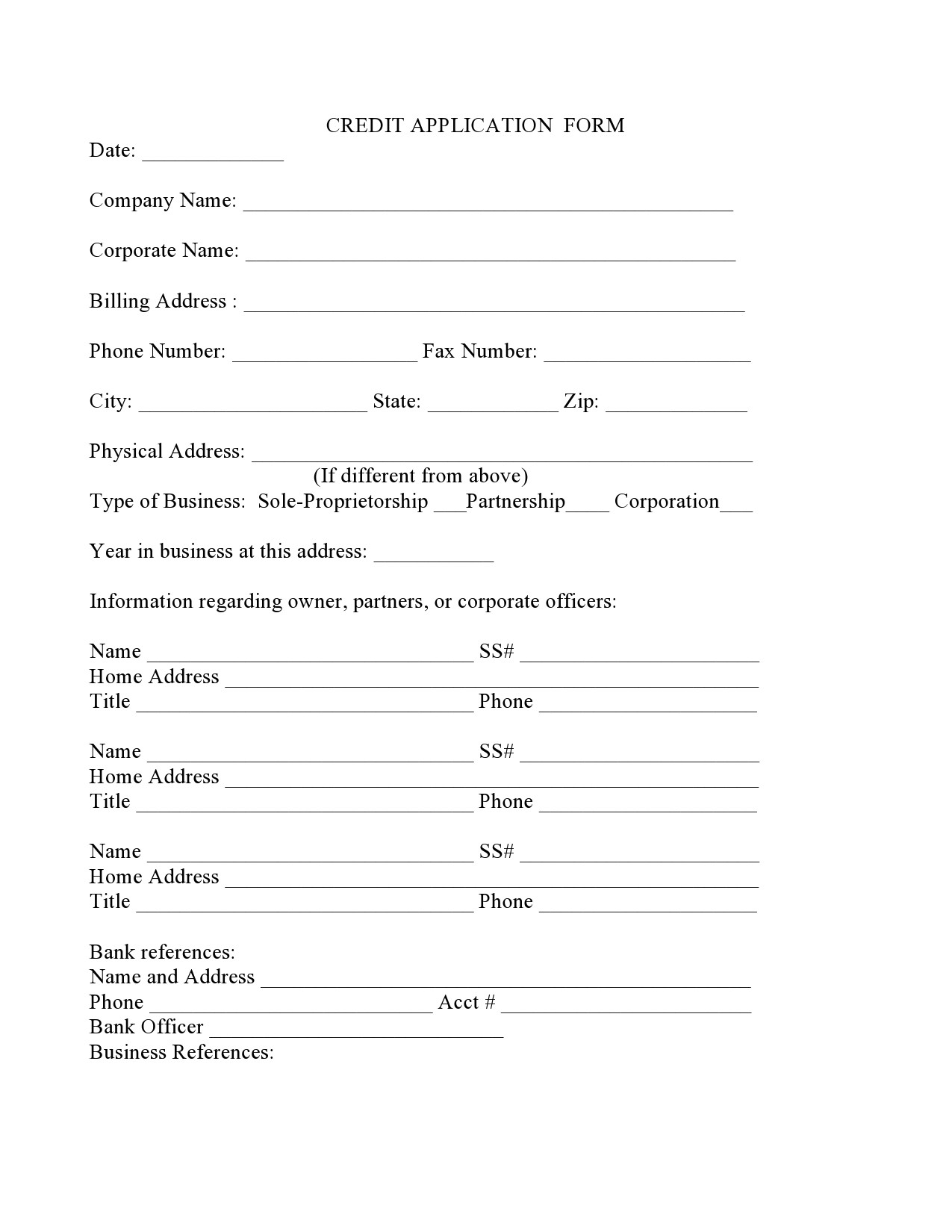 Free business credit application 36