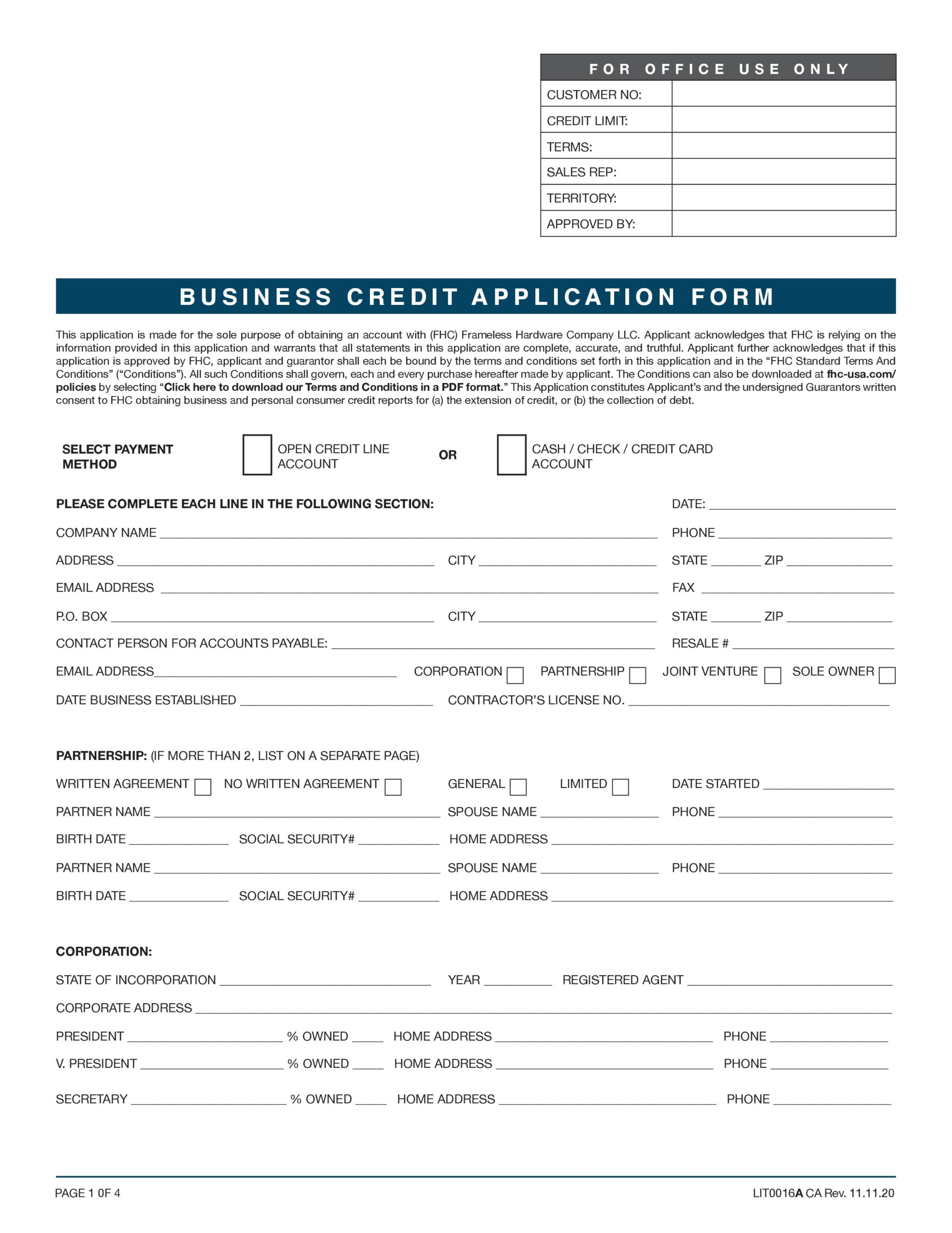 Free business credit application 46