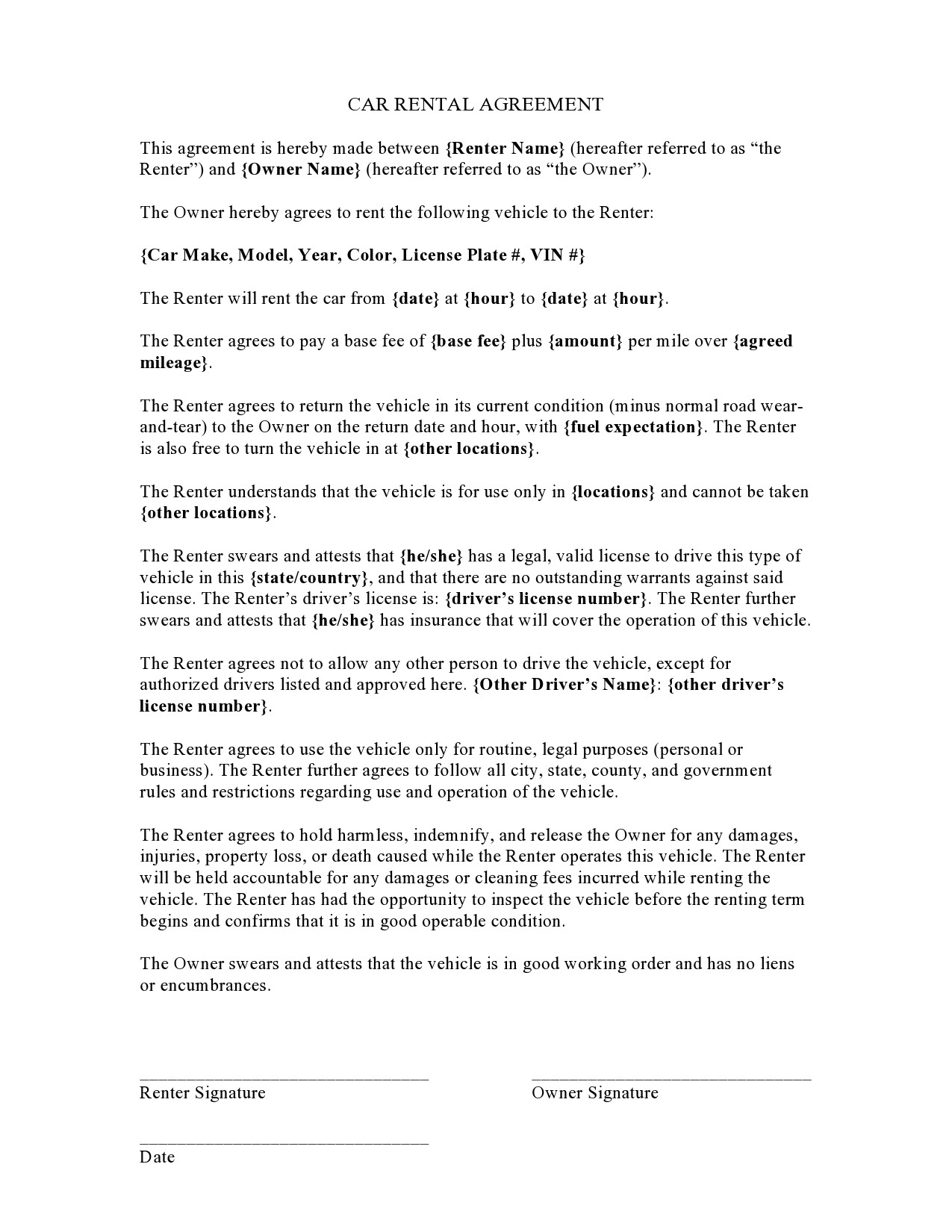 Free car rental agreement 03