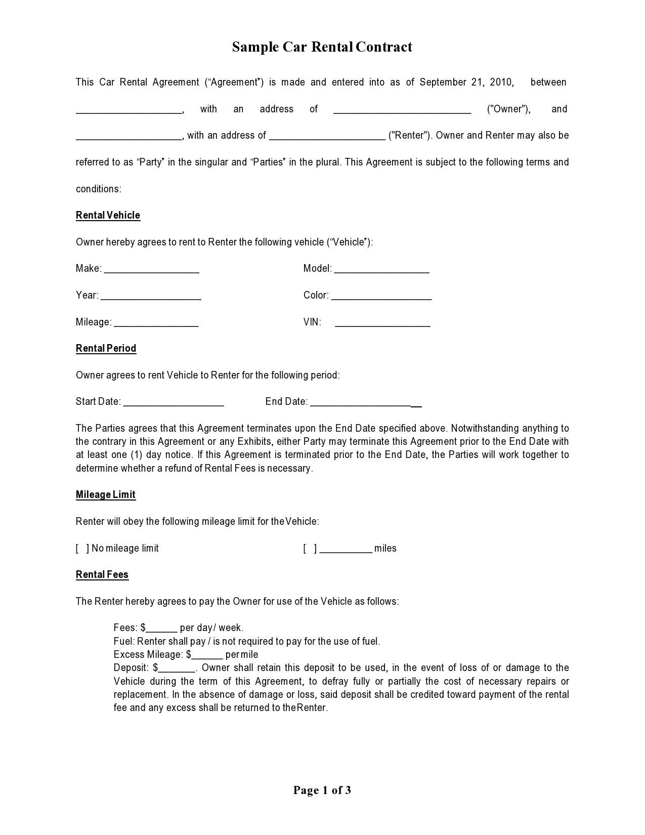 Free car rental agreement 05
