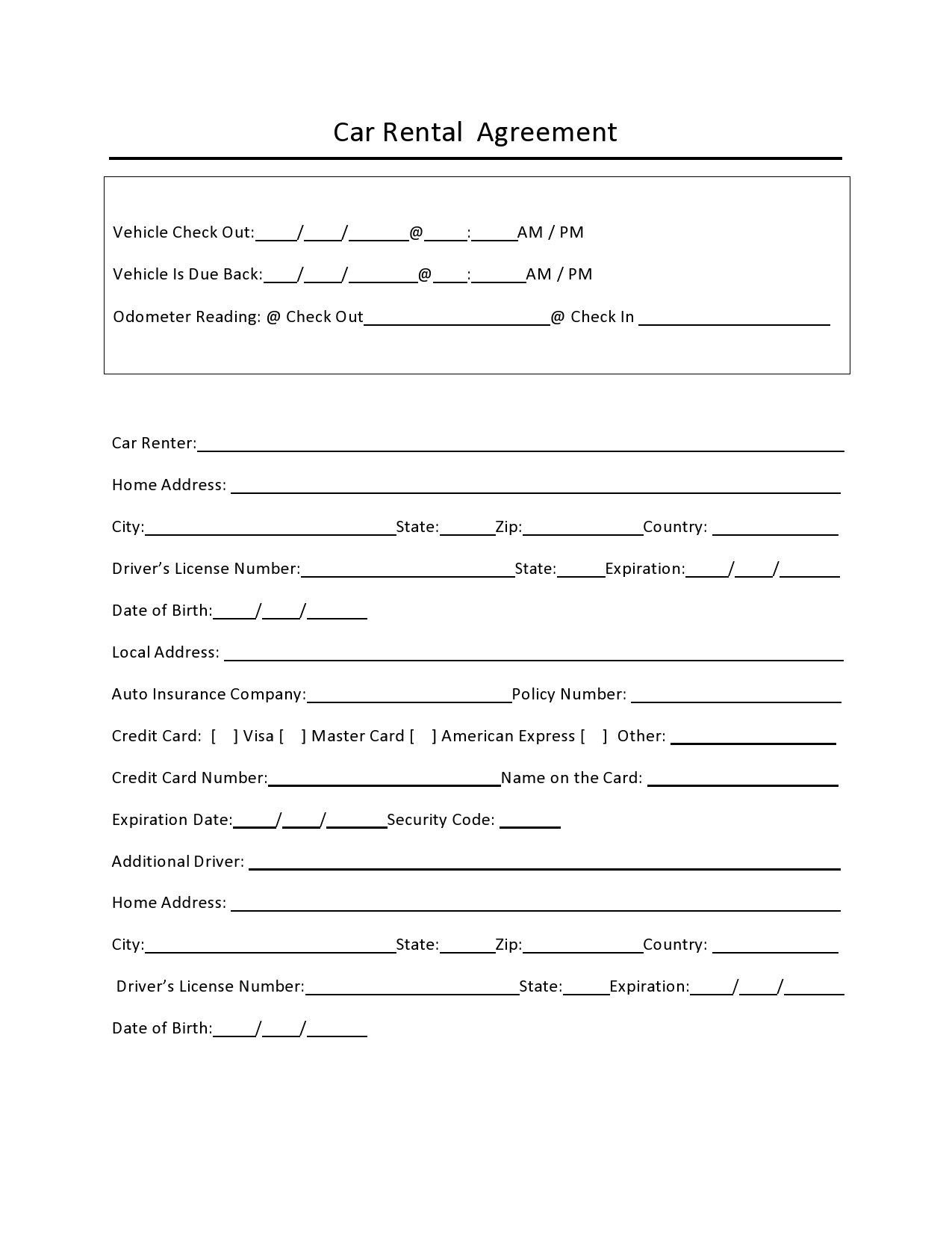Free car rental agreement 07