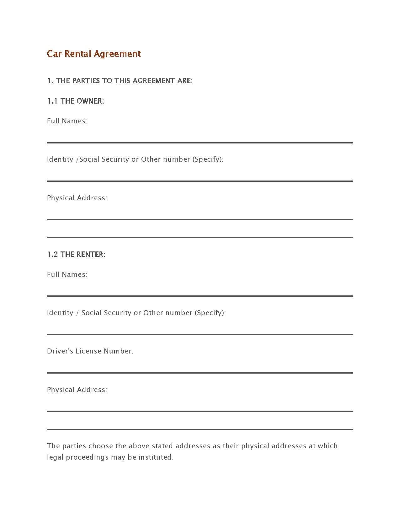 Free car rental agreement 14