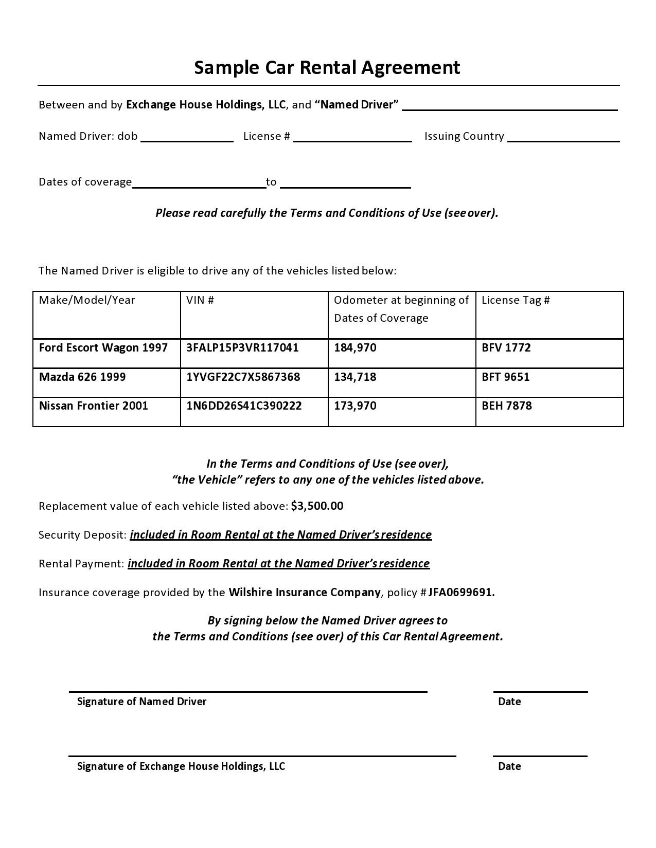 Free car rental agreement 17