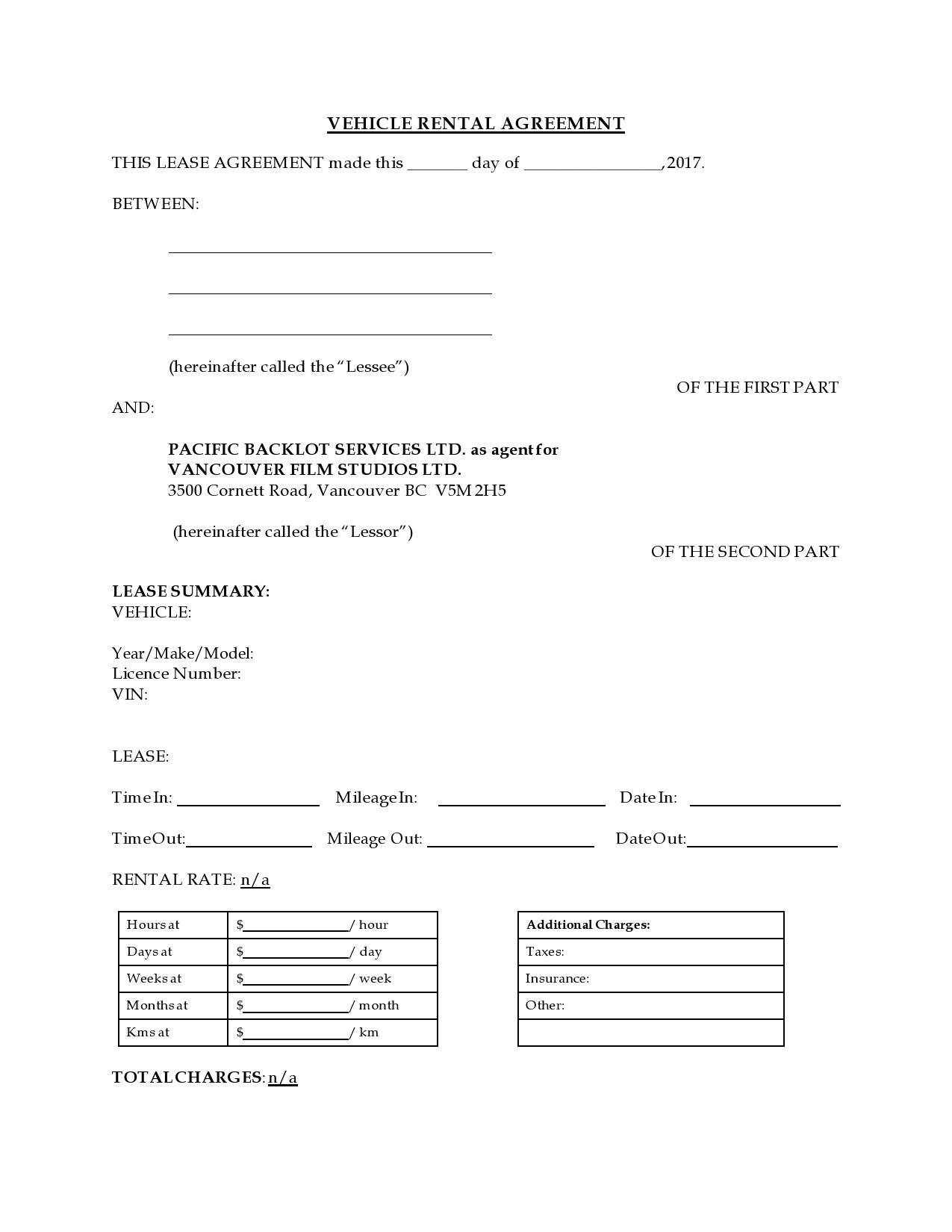 Free car rental agreement 20