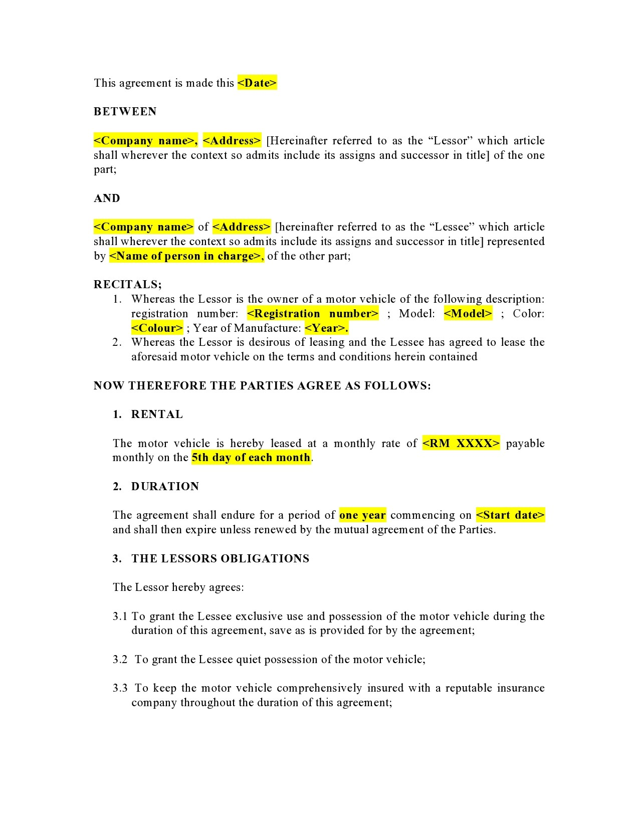 Free car rental agreement 23