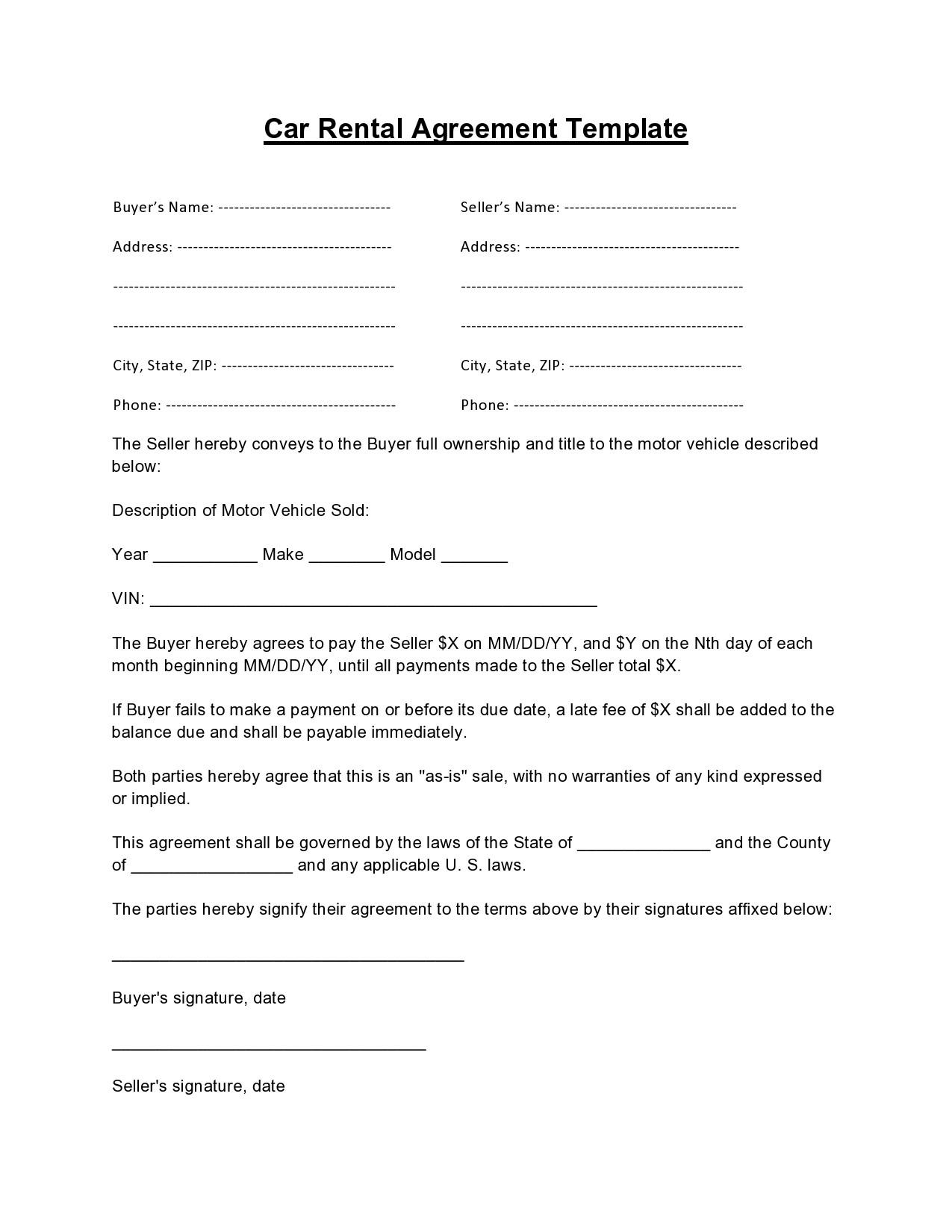 Free car rental agreement 24