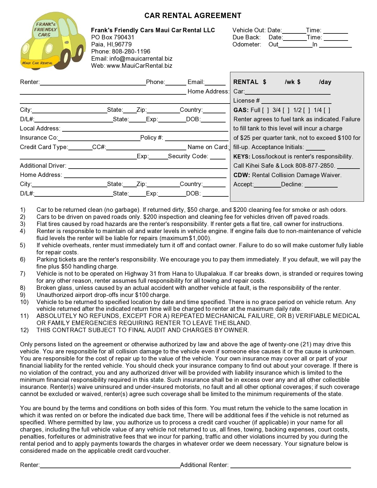 Free car rental agreement 28