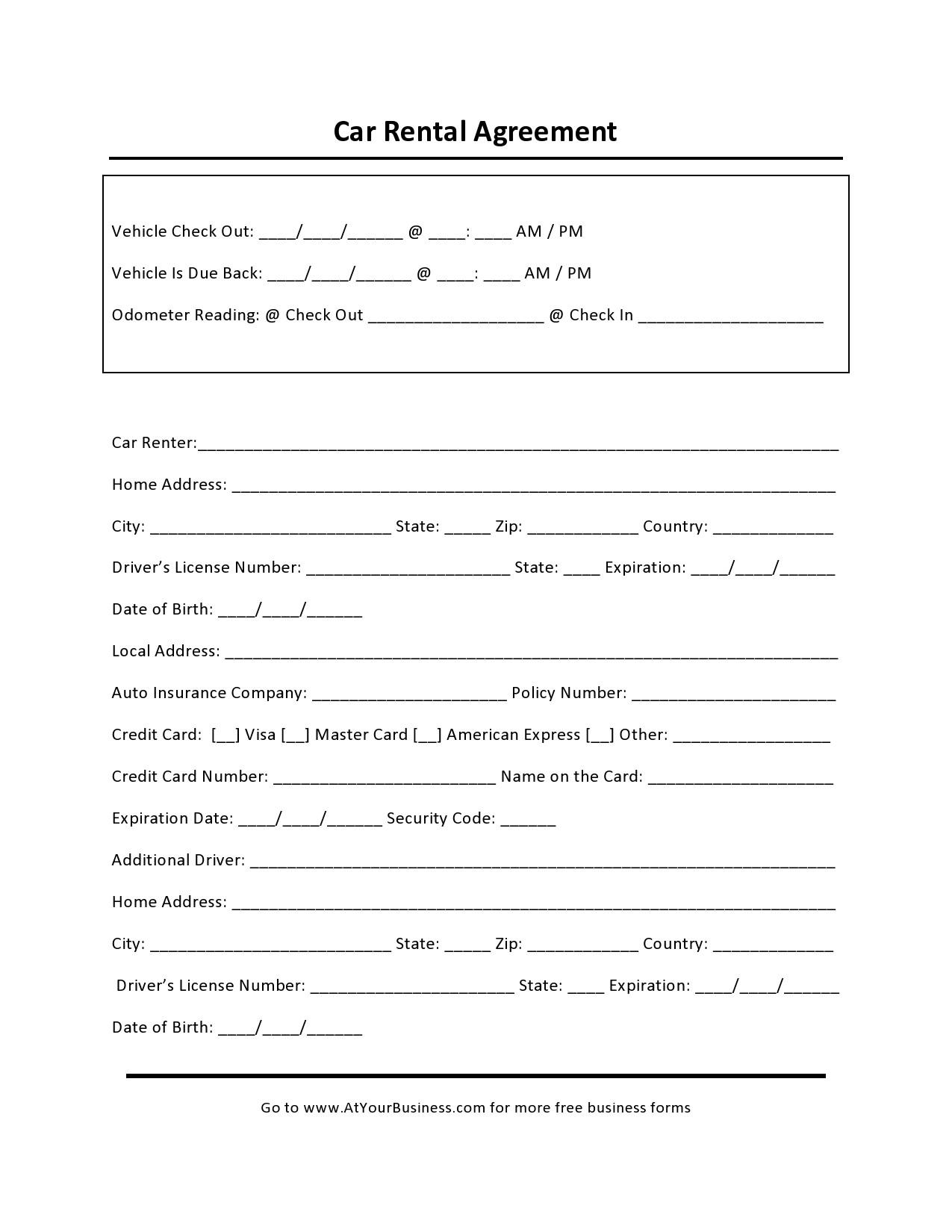 Free car rental agreement 35