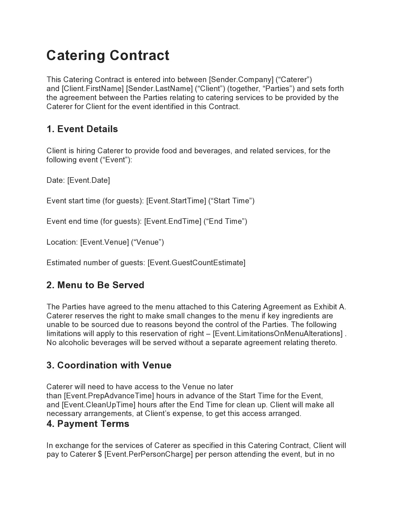 Free catering contract 01
