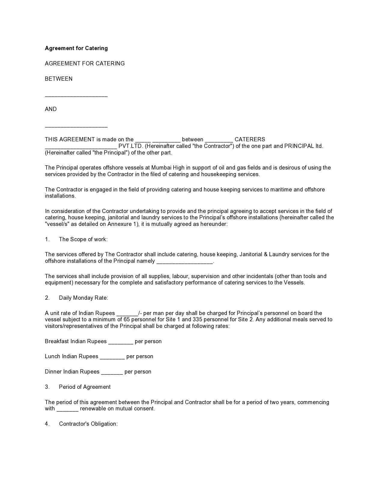Free catering contract 08