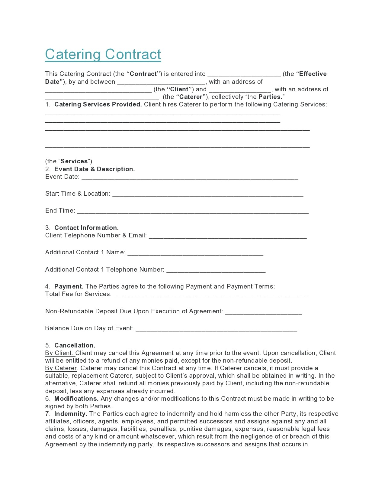 Free catering contract 09