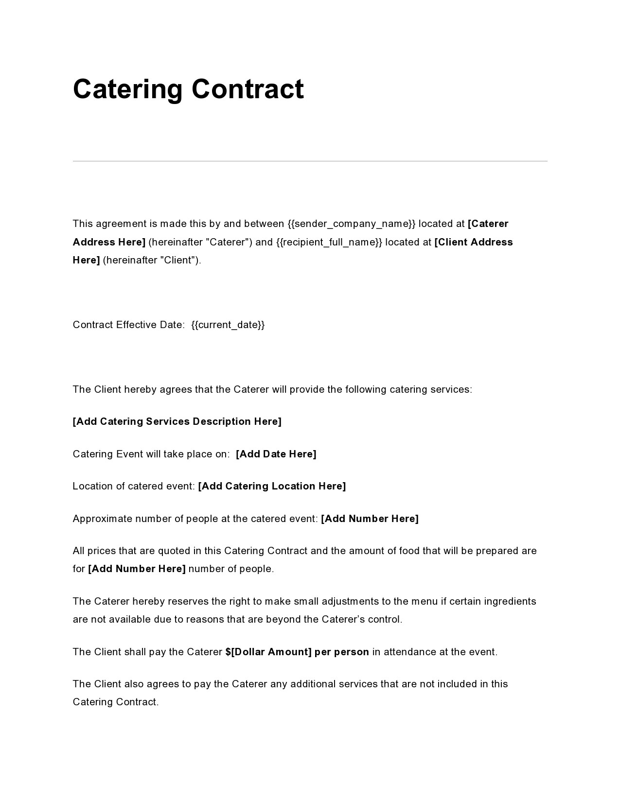Free catering contract 14