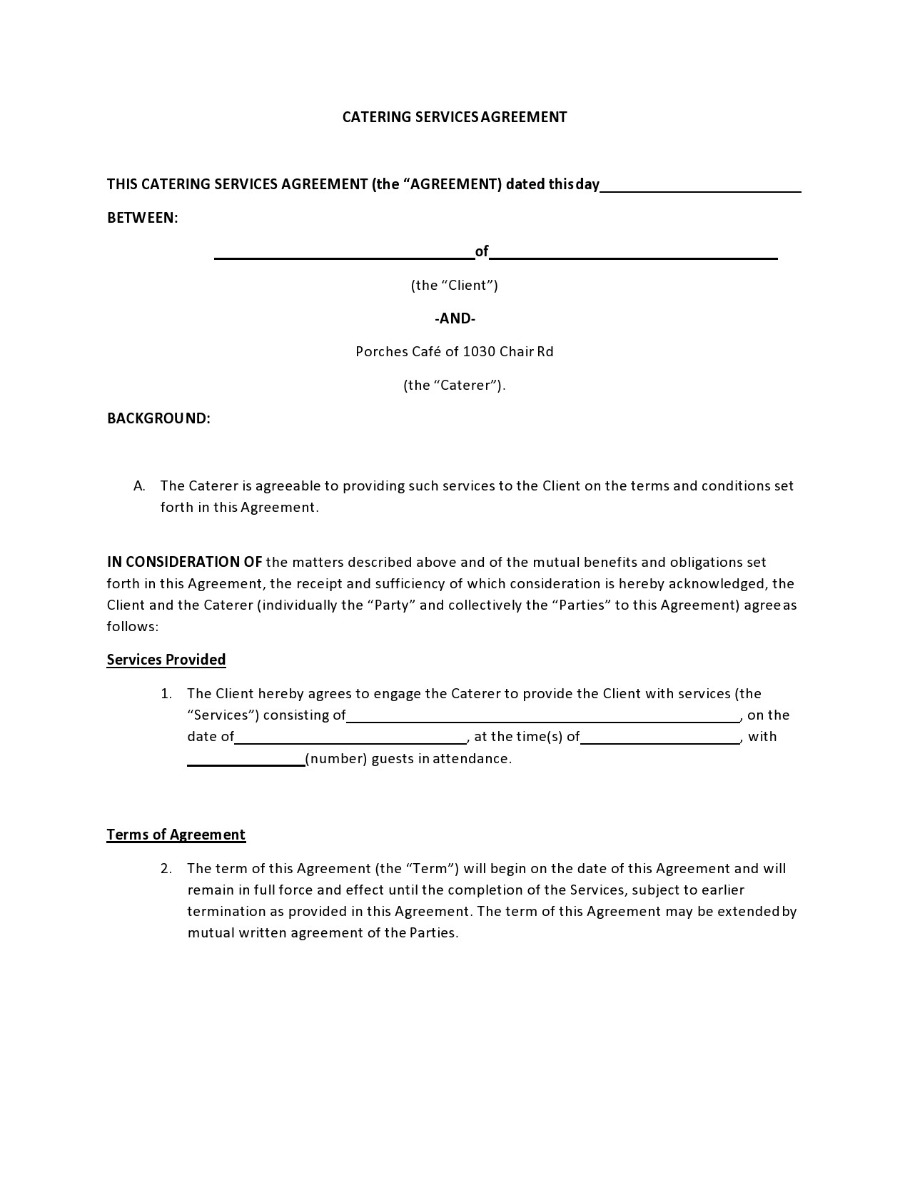 Free catering contract 16