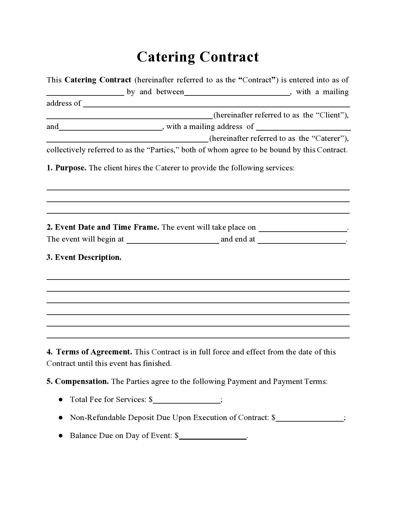 Free catering contract 17