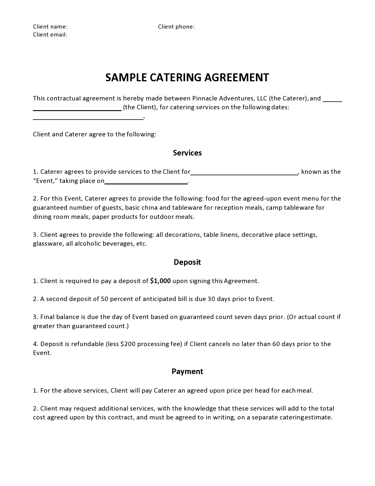 Free catering contract 25