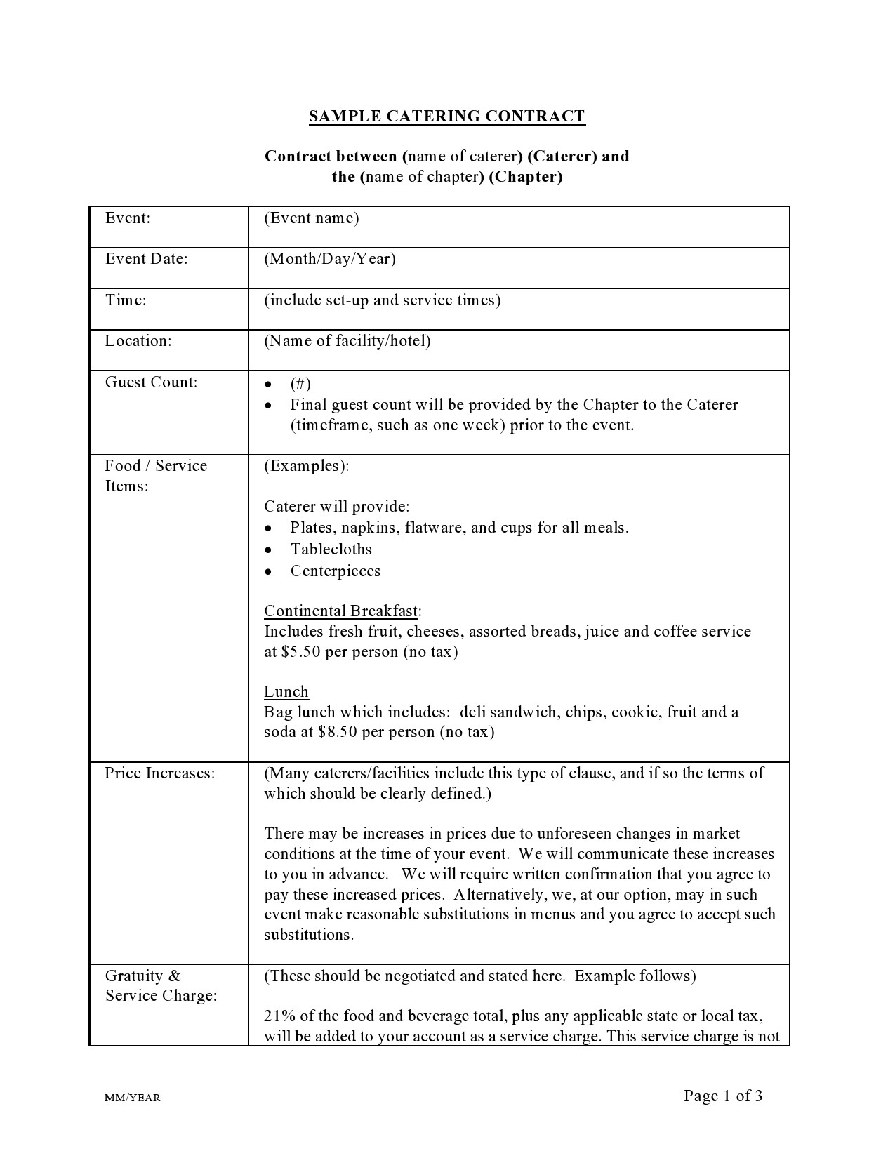 Free catering contract 28