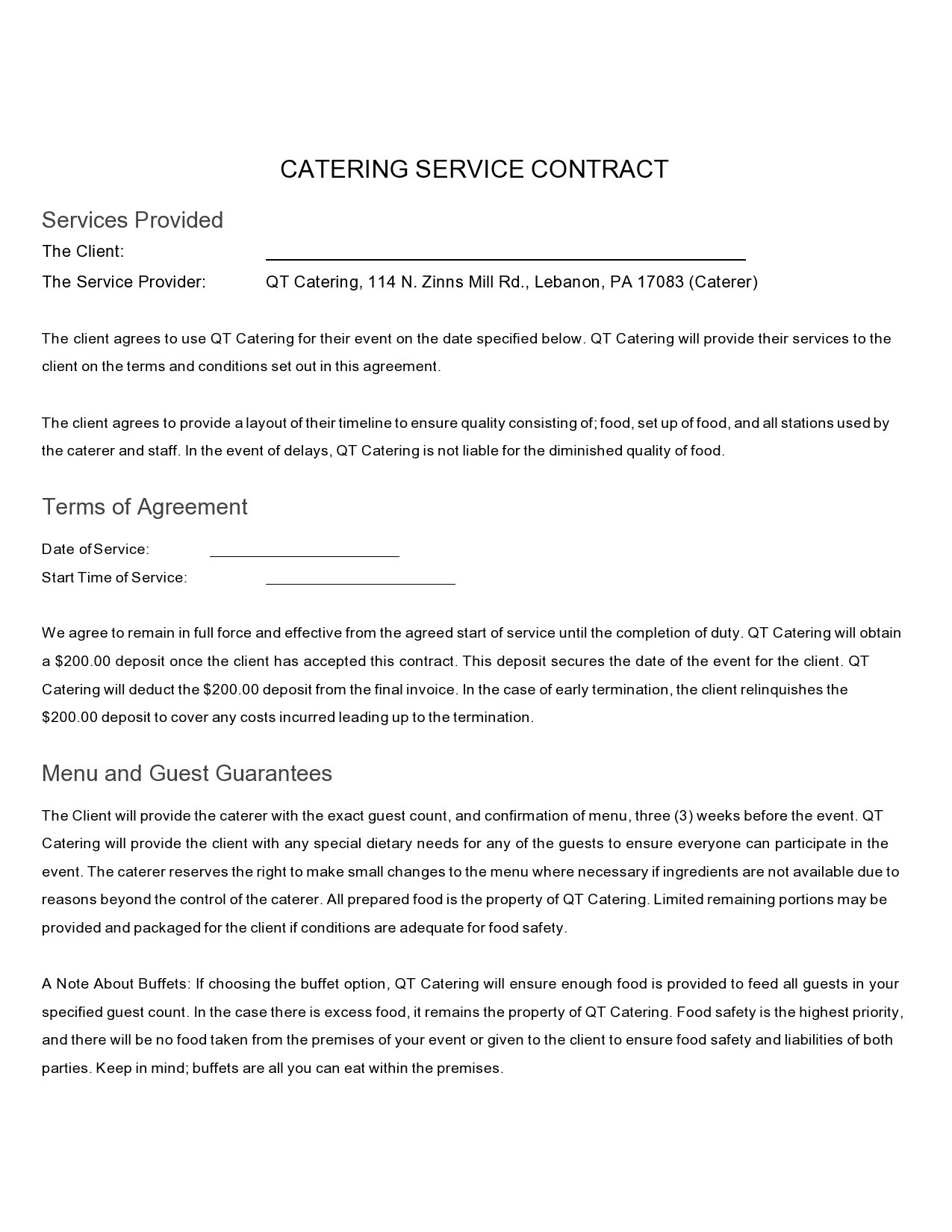 Free catering contract 29