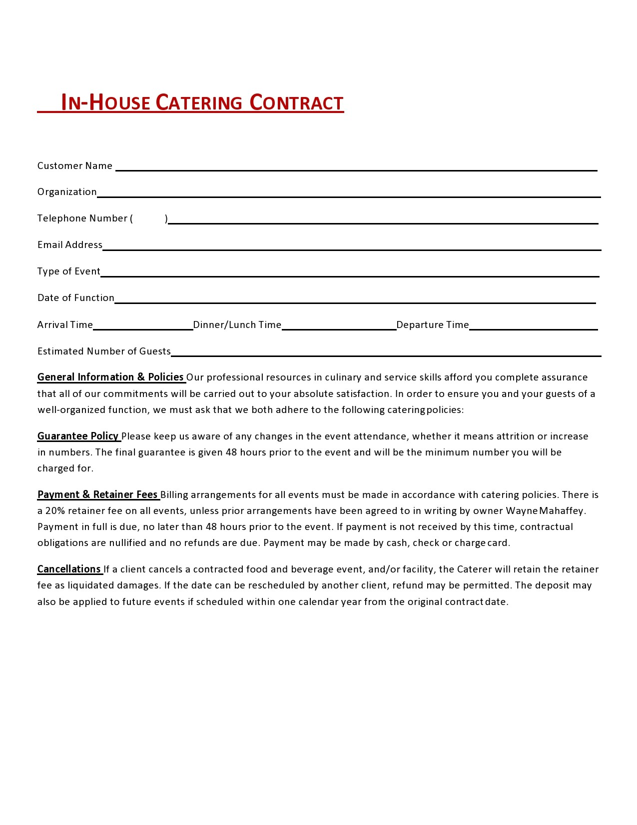 Free catering contract 32