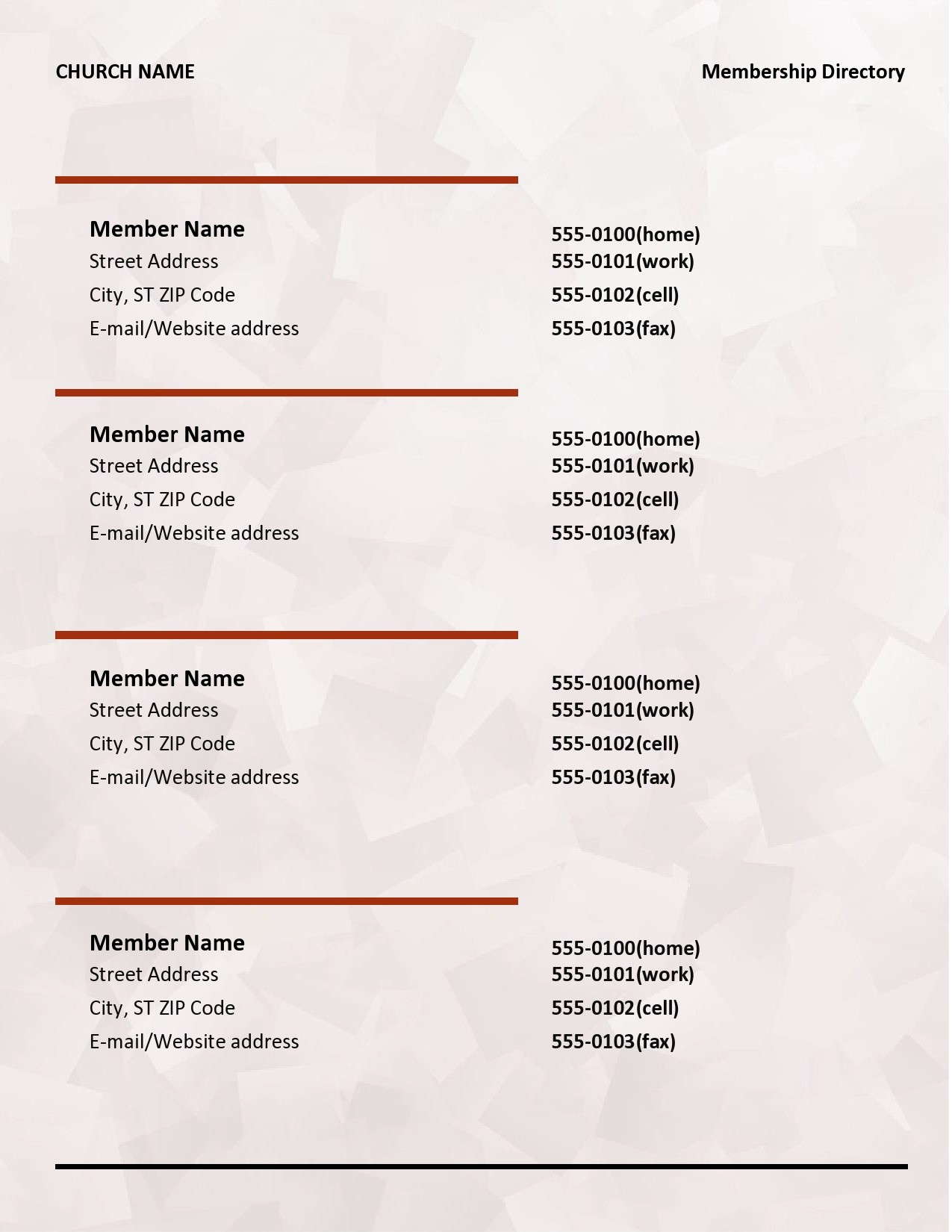 Free church directory template 01