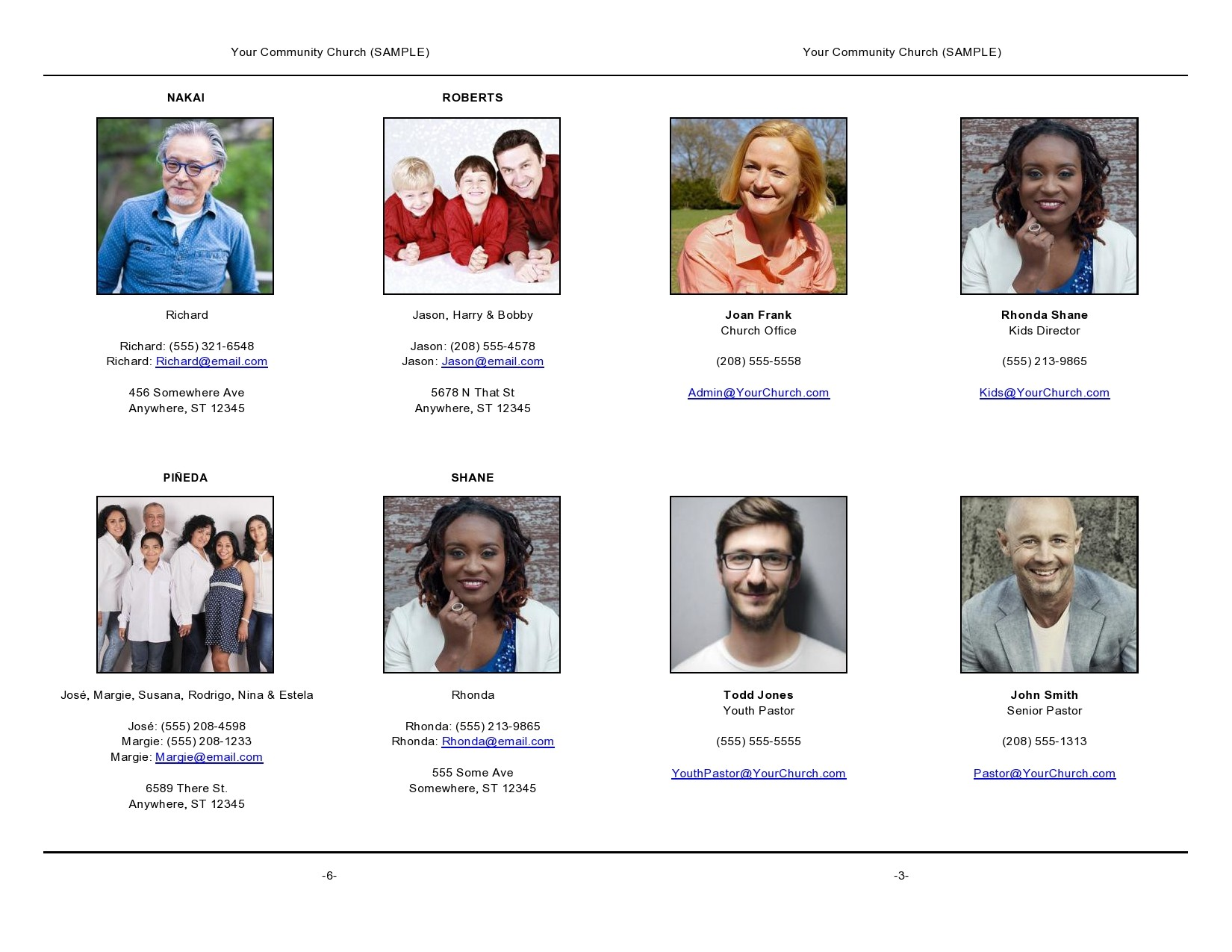 Free church directory template 12