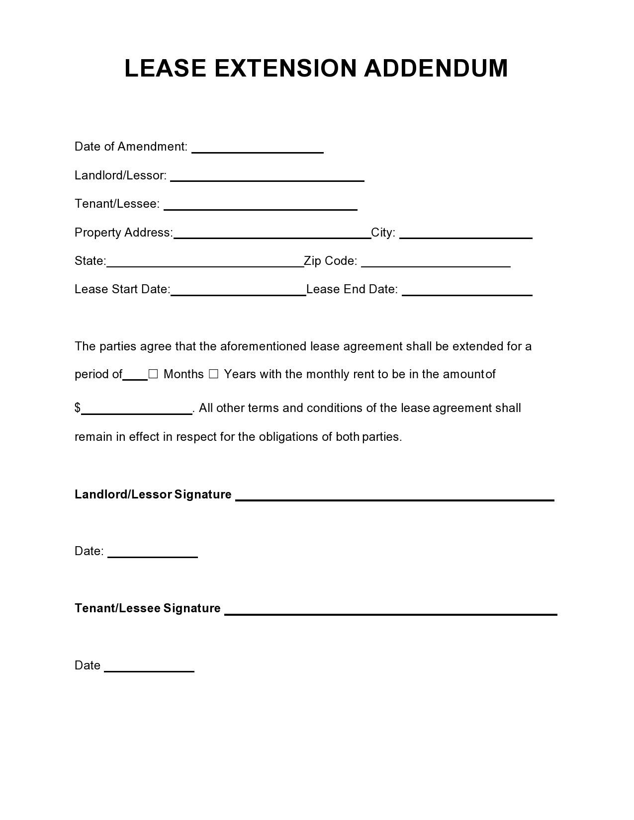 Free lease extension addendum 05