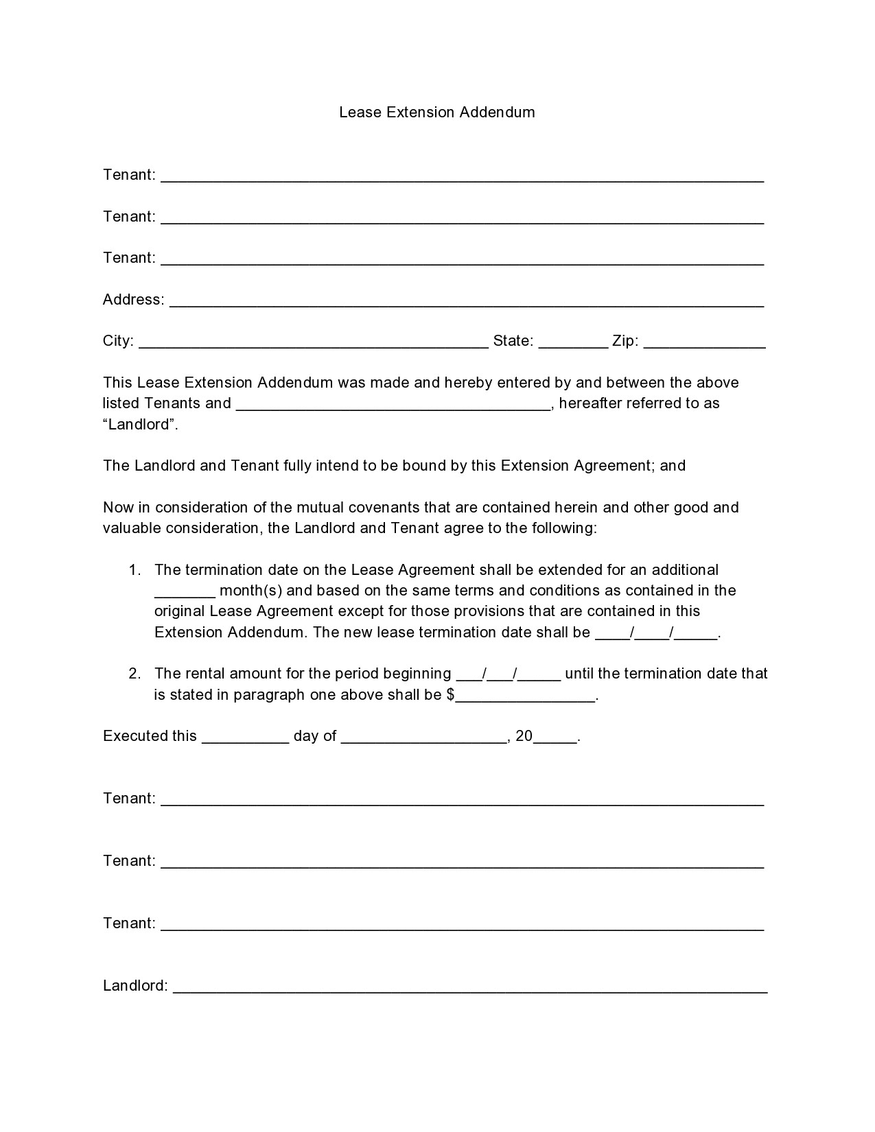 Free lease extension addendum 07