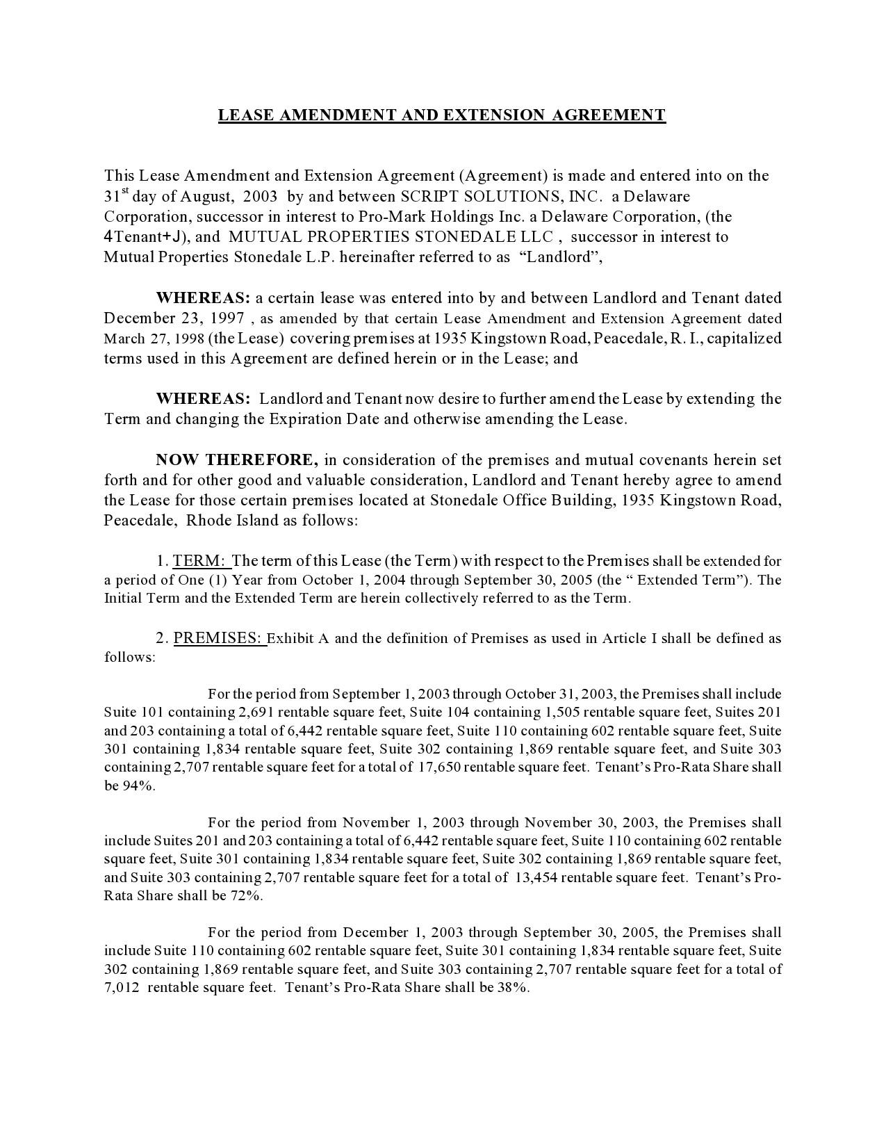Free lease extension addendum 09