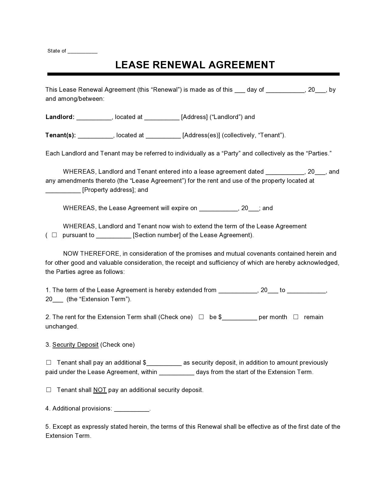 Free lease extension addendum 10