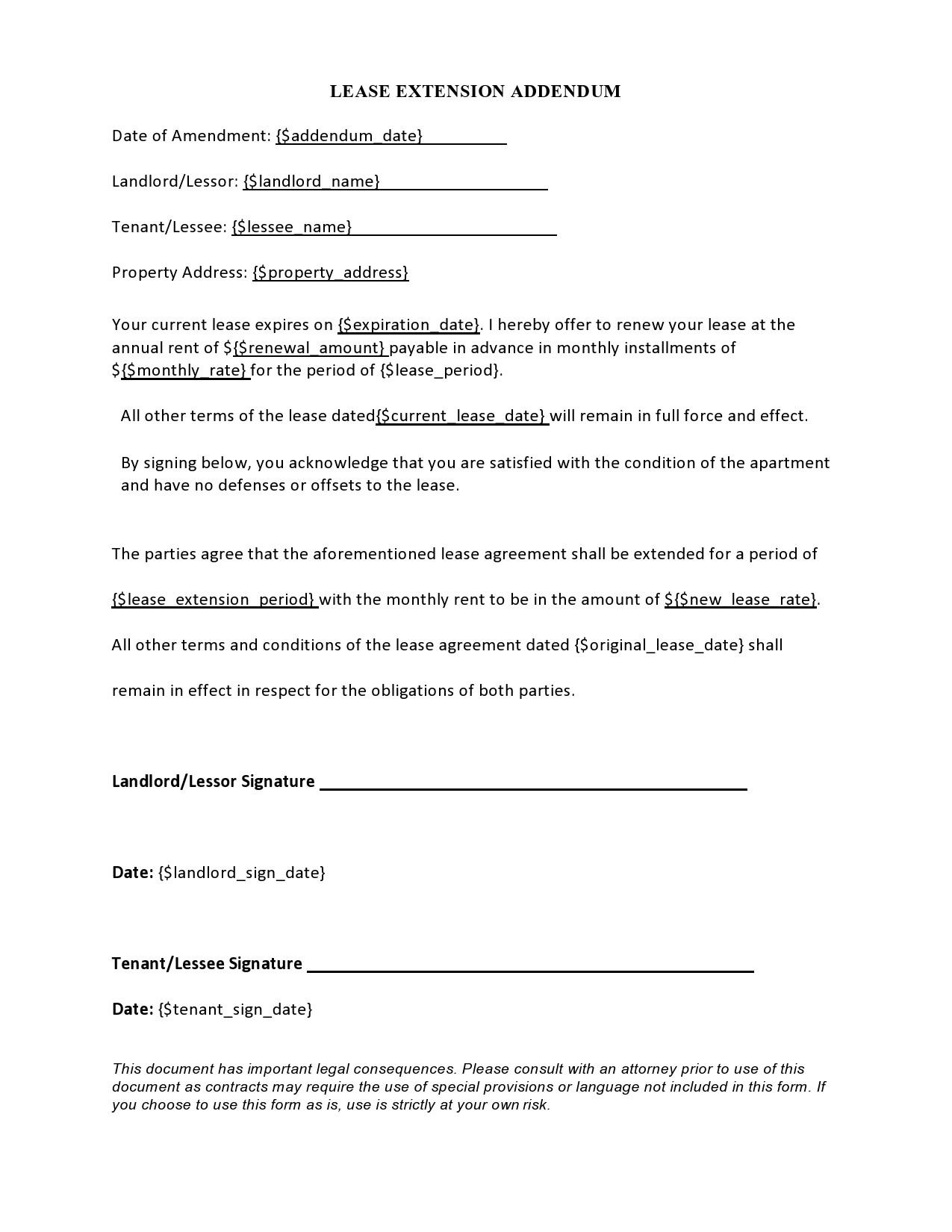 Free lease extension addendum 11
