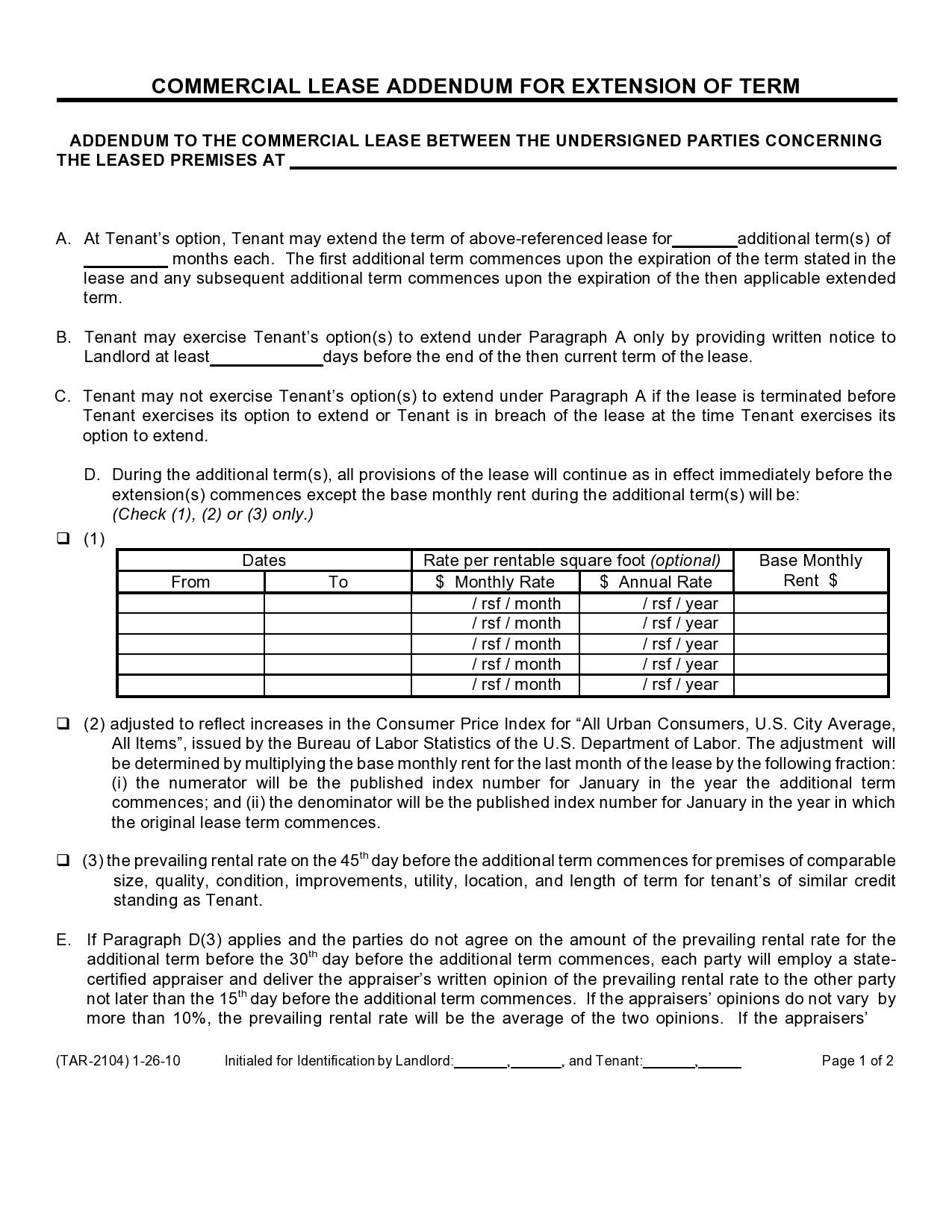 Free lease extension addendum 12