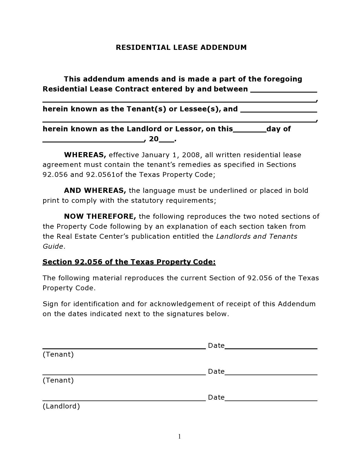 Free lease extension addendum 14