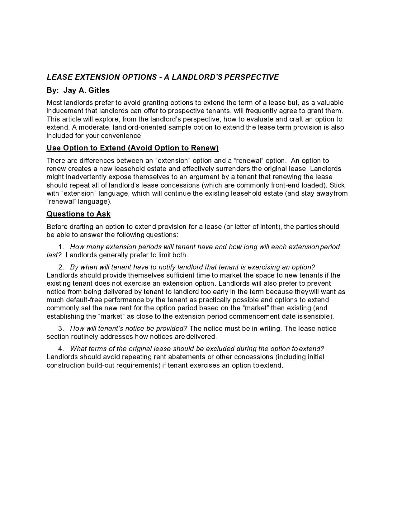 Free lease extension addendum 15