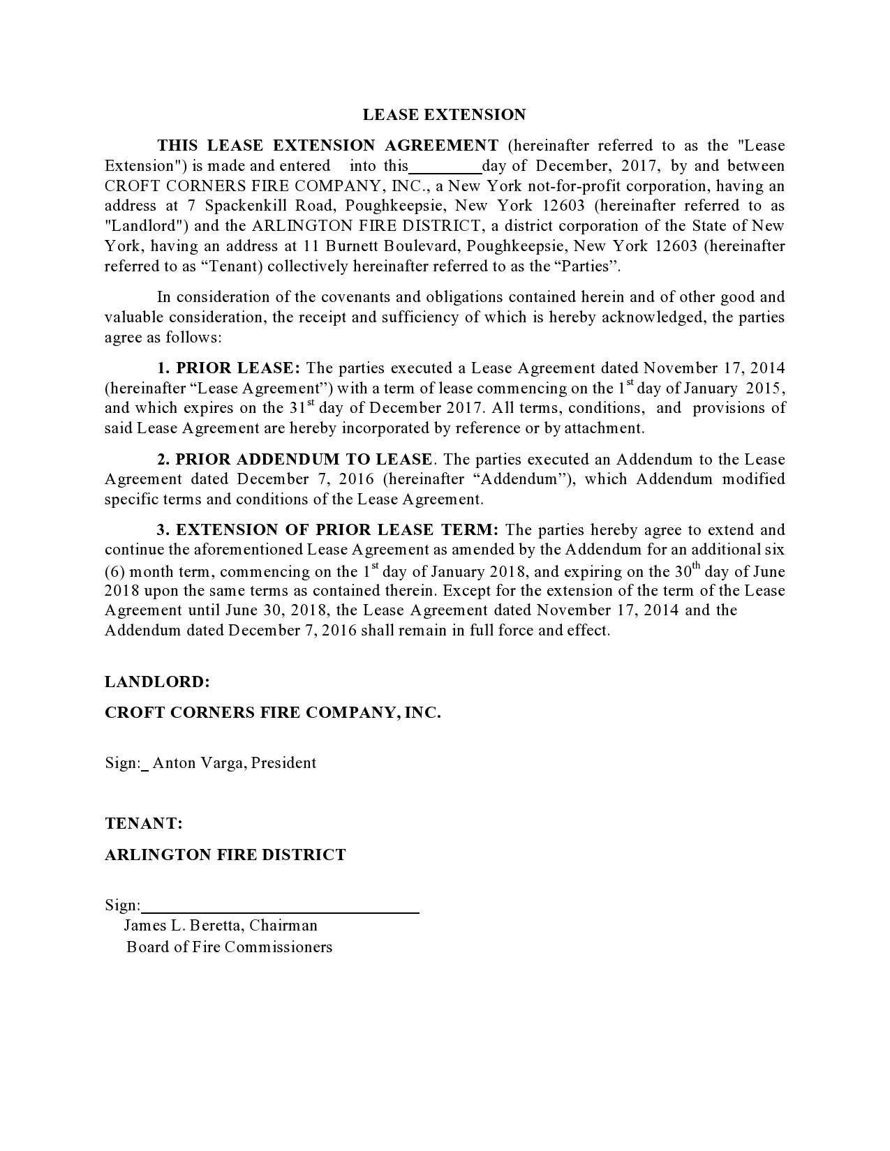 Free lease extension addendum 17