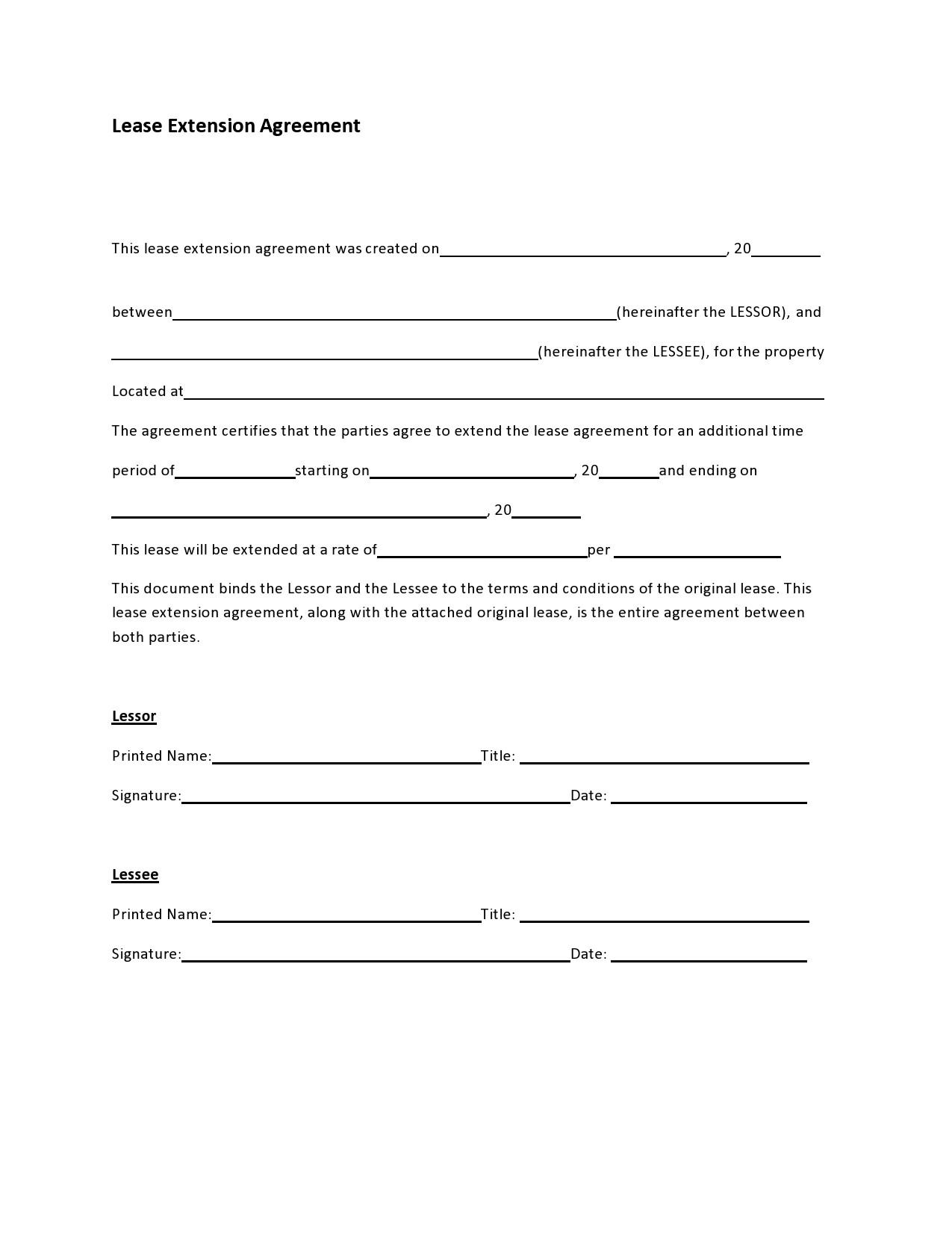 Free lease extension addendum 18