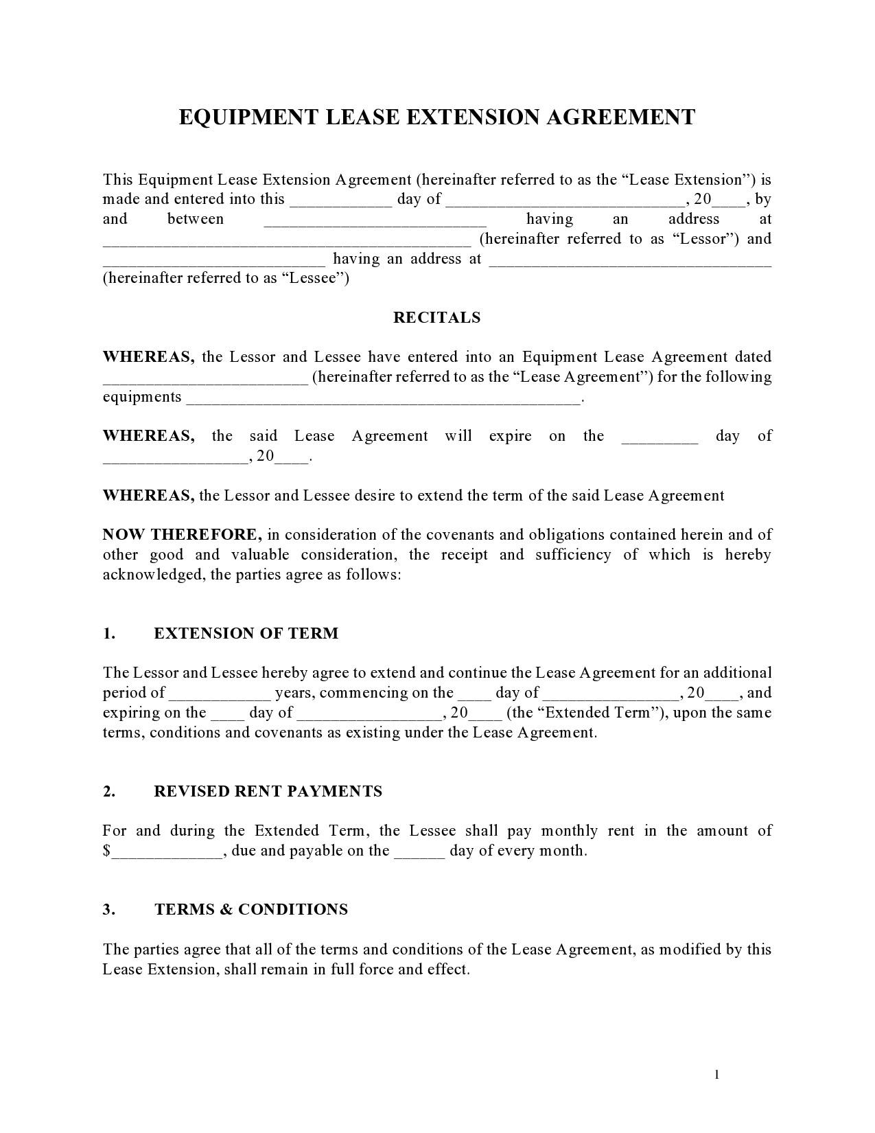 Free lease extension addendum 30