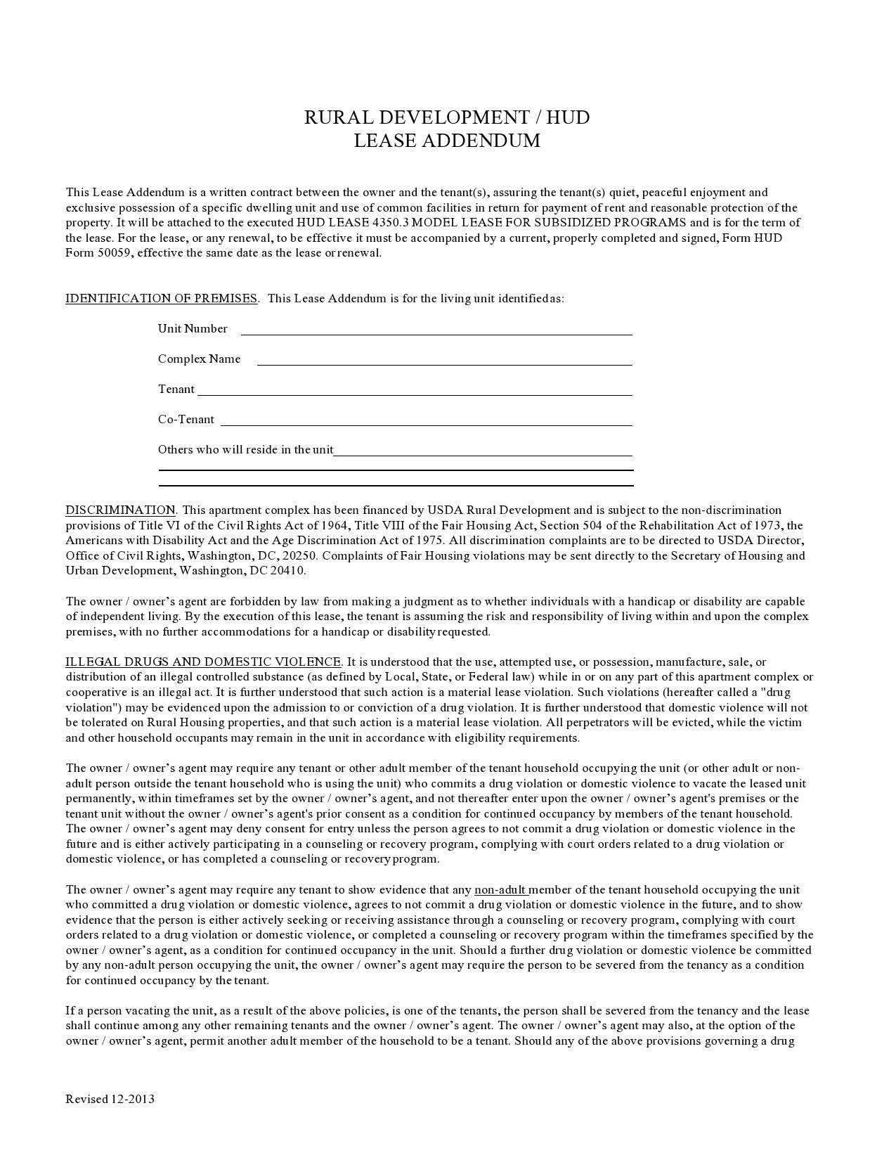 Free lease extension addendum 35