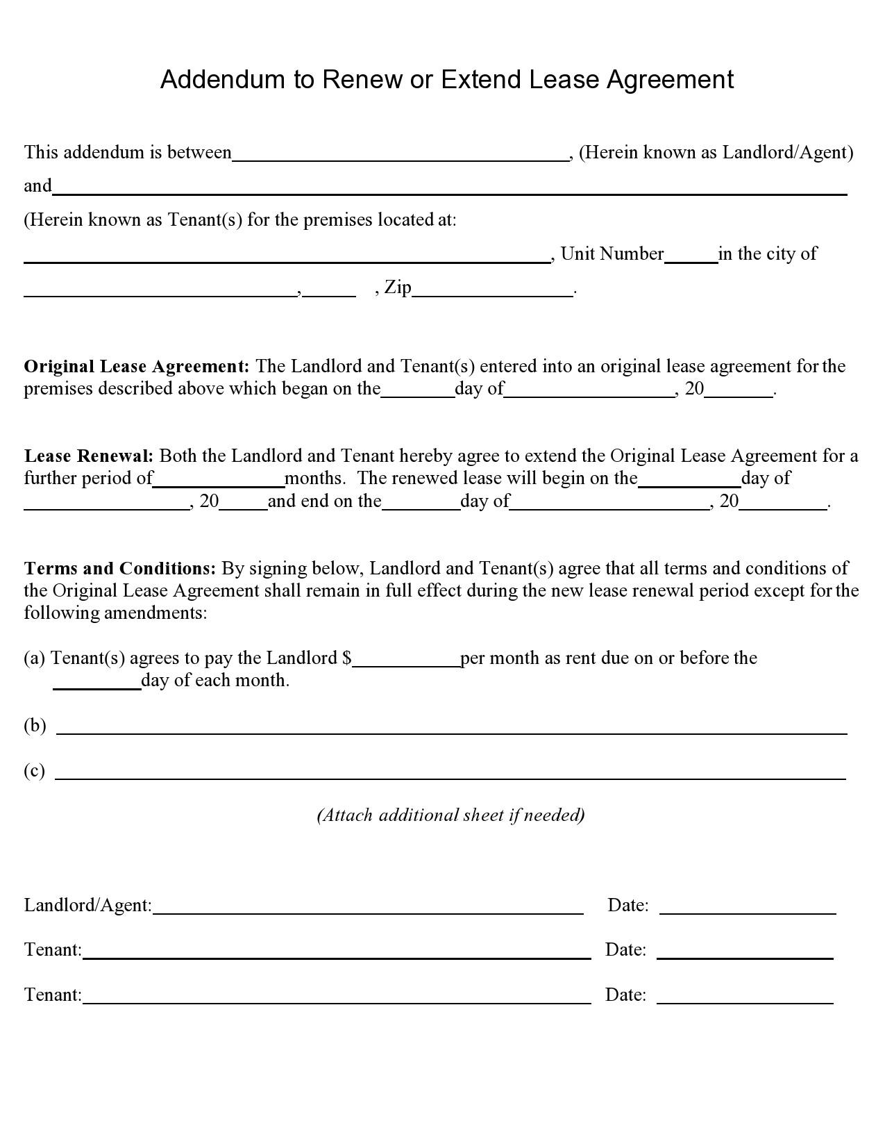 Free lease extension addendum 40
