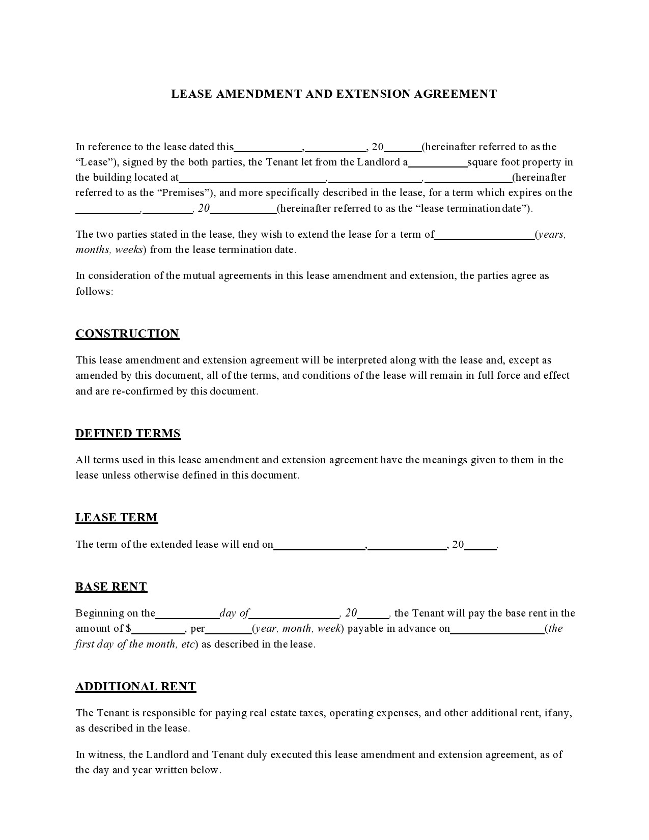 Free lease extension addendum 42