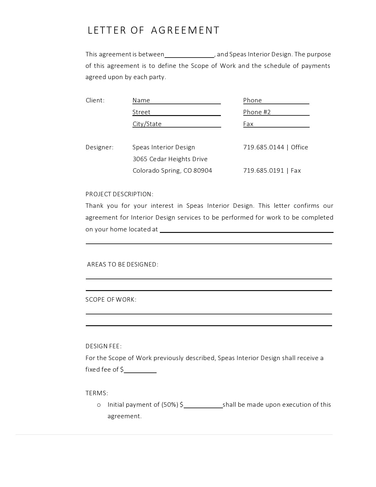 Free letter of agreement 01