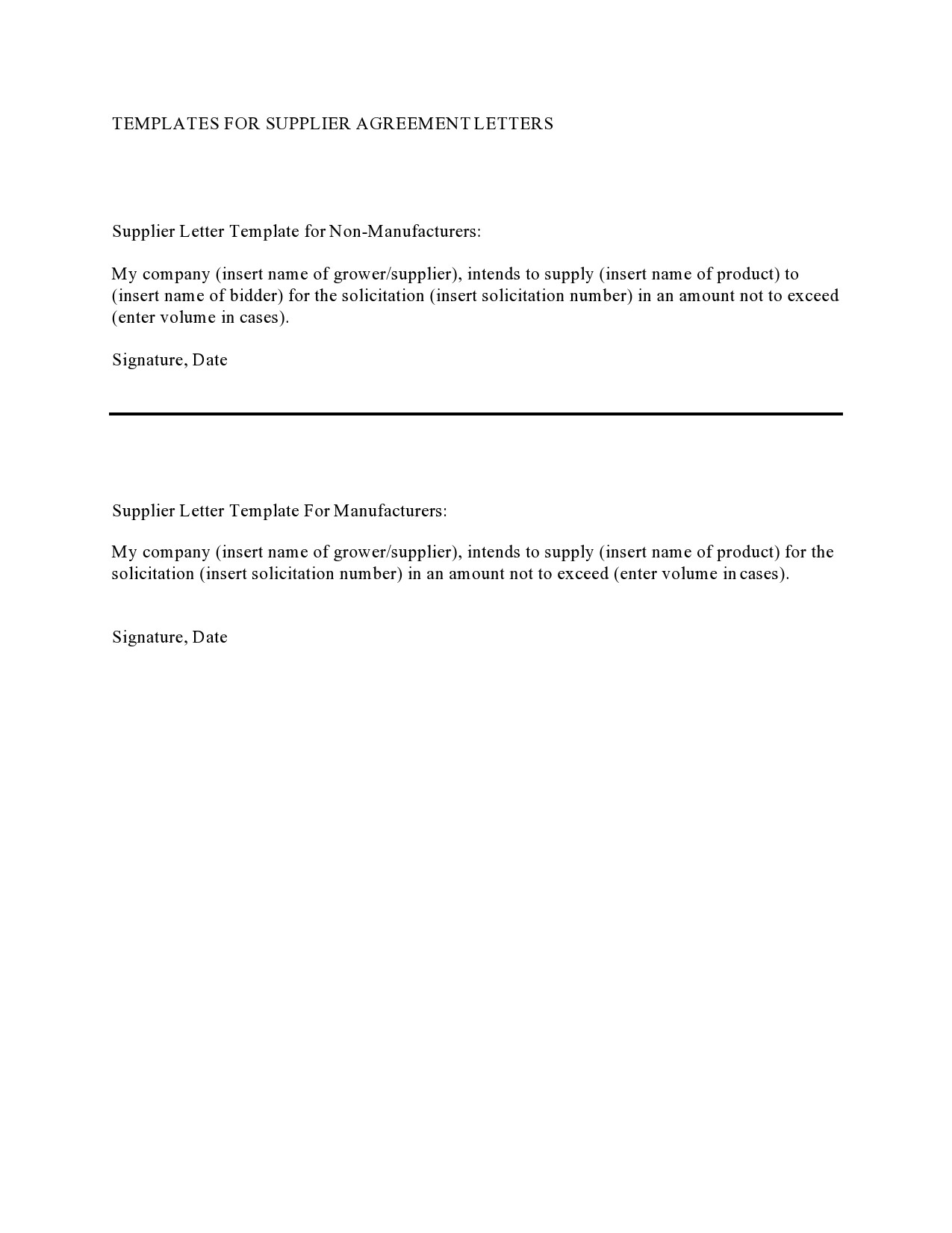 Free letter of agreement 03